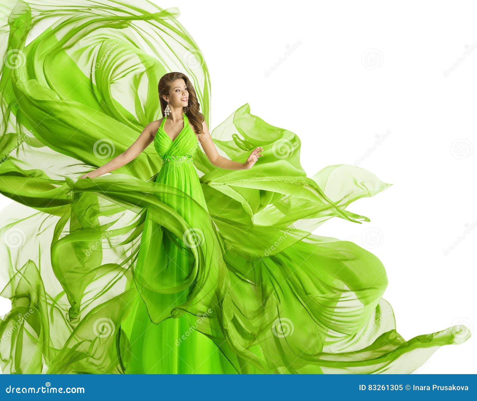 Modelo de forma Dress, mulher no vestido de fluxo da tela, fluxo da roupa