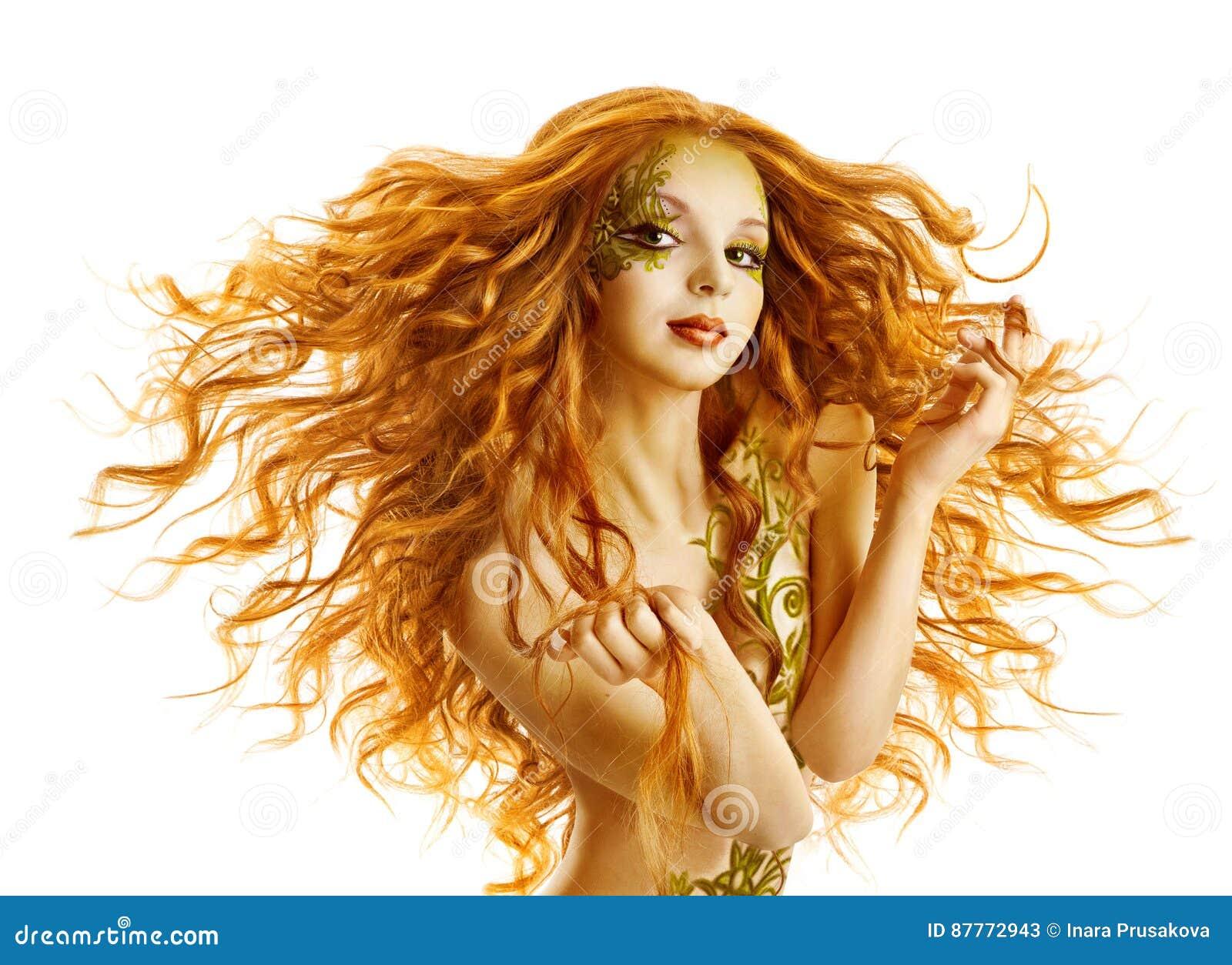 Modelo de forma Hair Style, penteado de ondulação longo da mulher, branco isolado