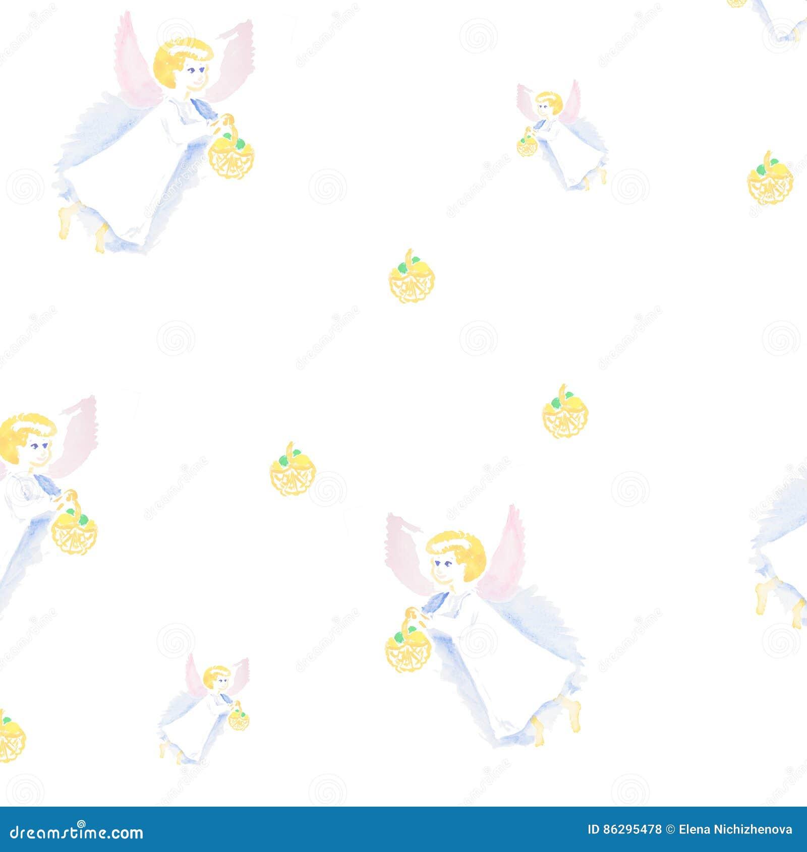 Modelo de la acuarela del ángel de Pascua aislado