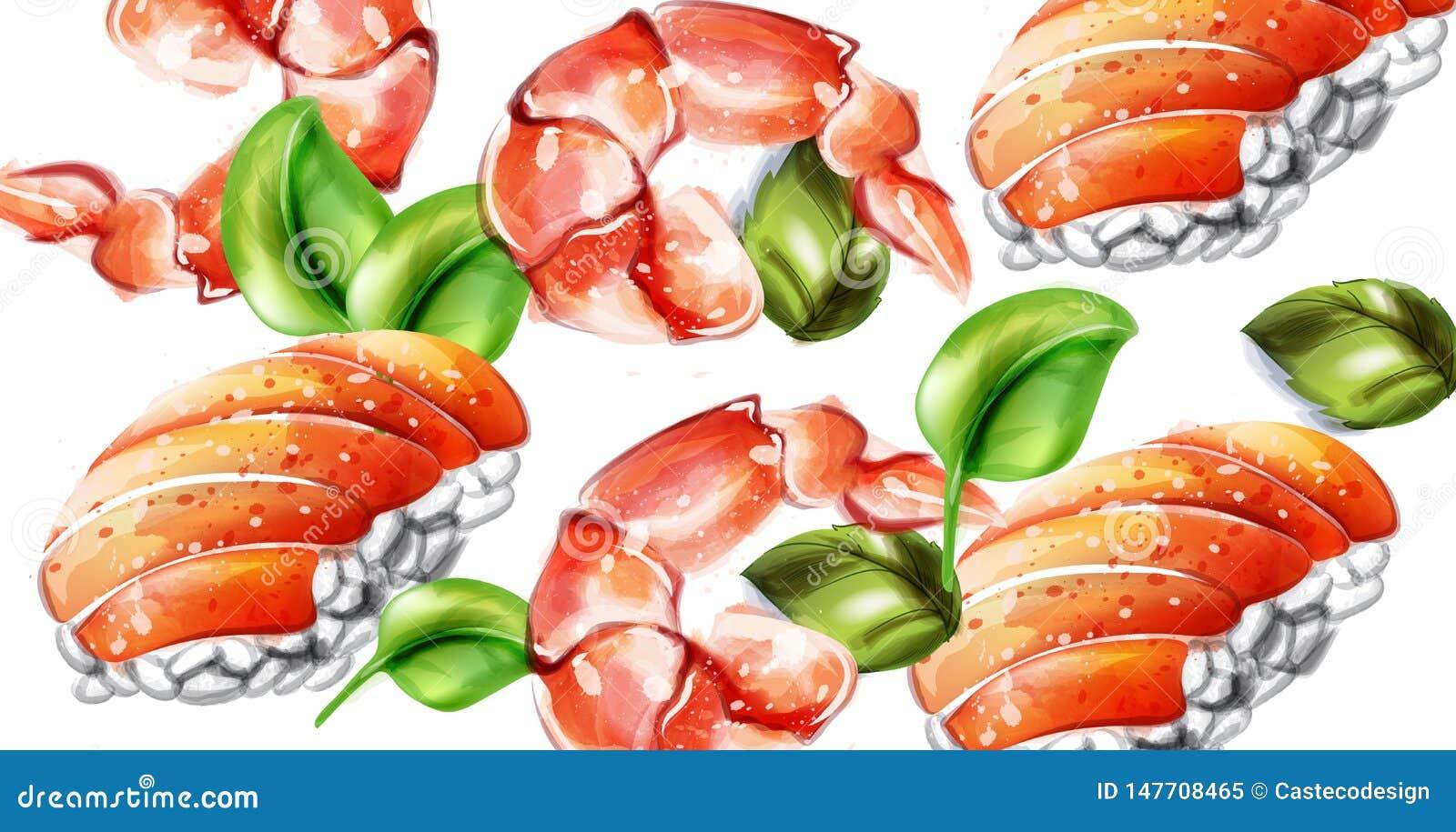 Modelo de la acuarela del vector del sushi Plantillas gastr?nomas de la textura deliciosa