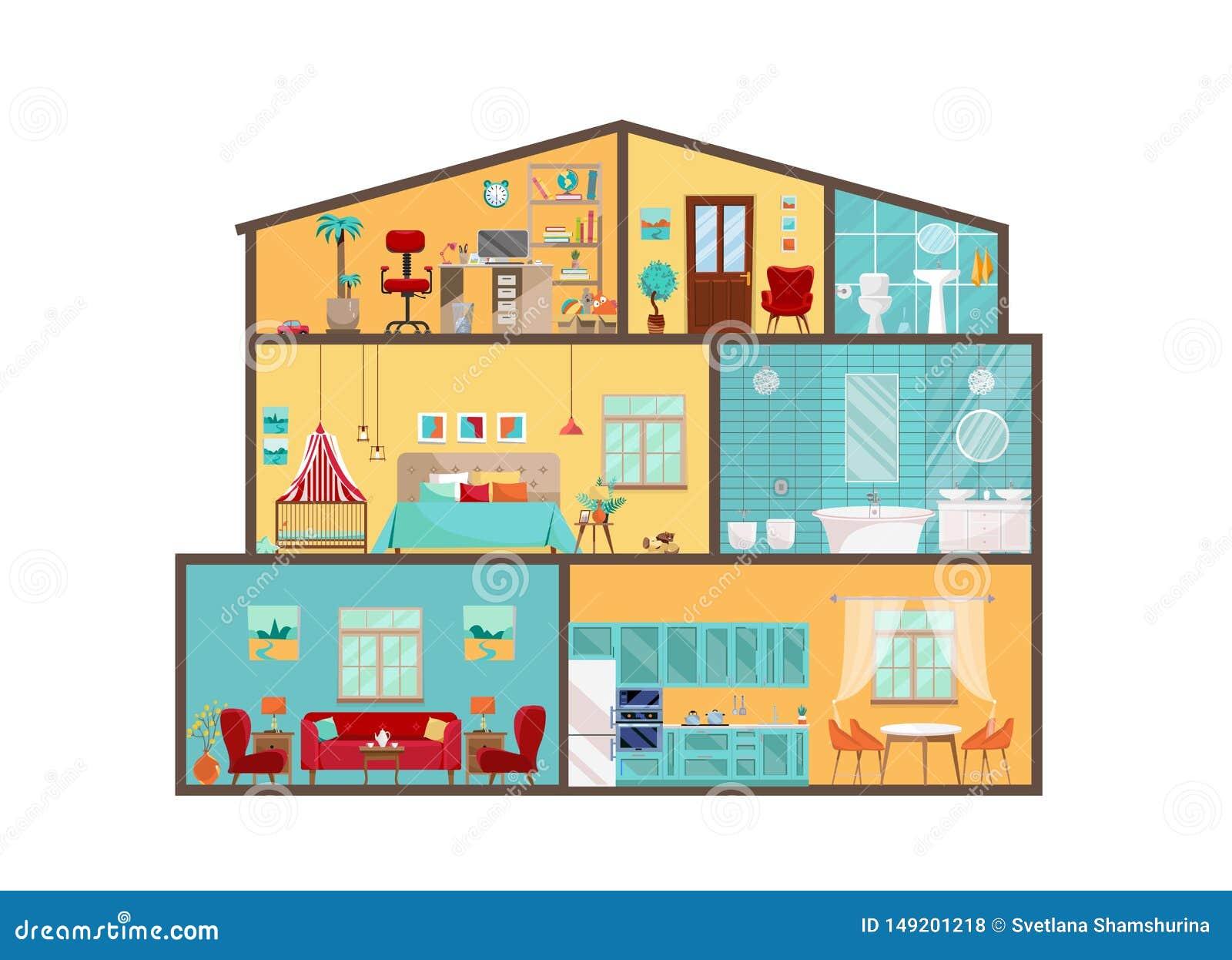 Modelo de la casa desde adentro Interiores detallados con muebles y la decoración en estilo plano del vector Casa grande en corte