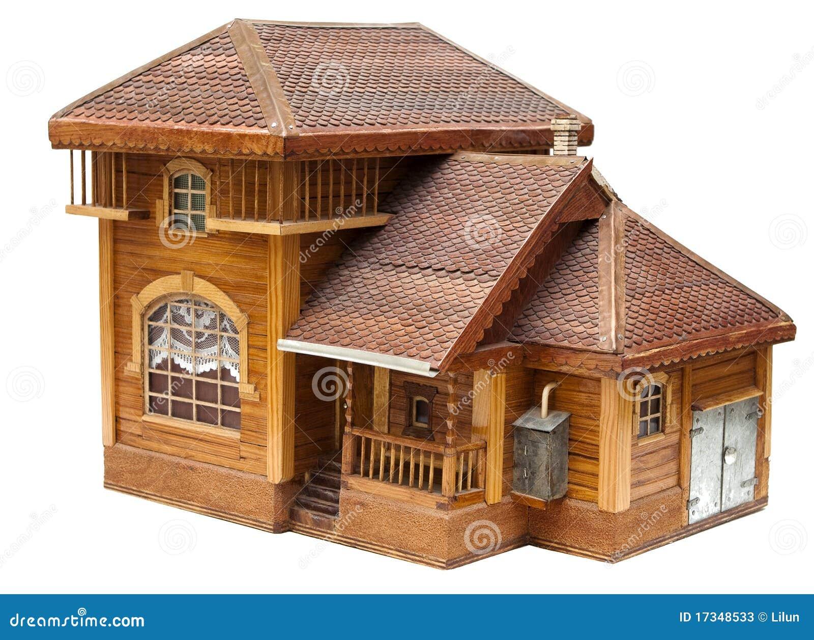 Modelo de la casa hecha de la madera fotos de archivo - La casa de la madera ...