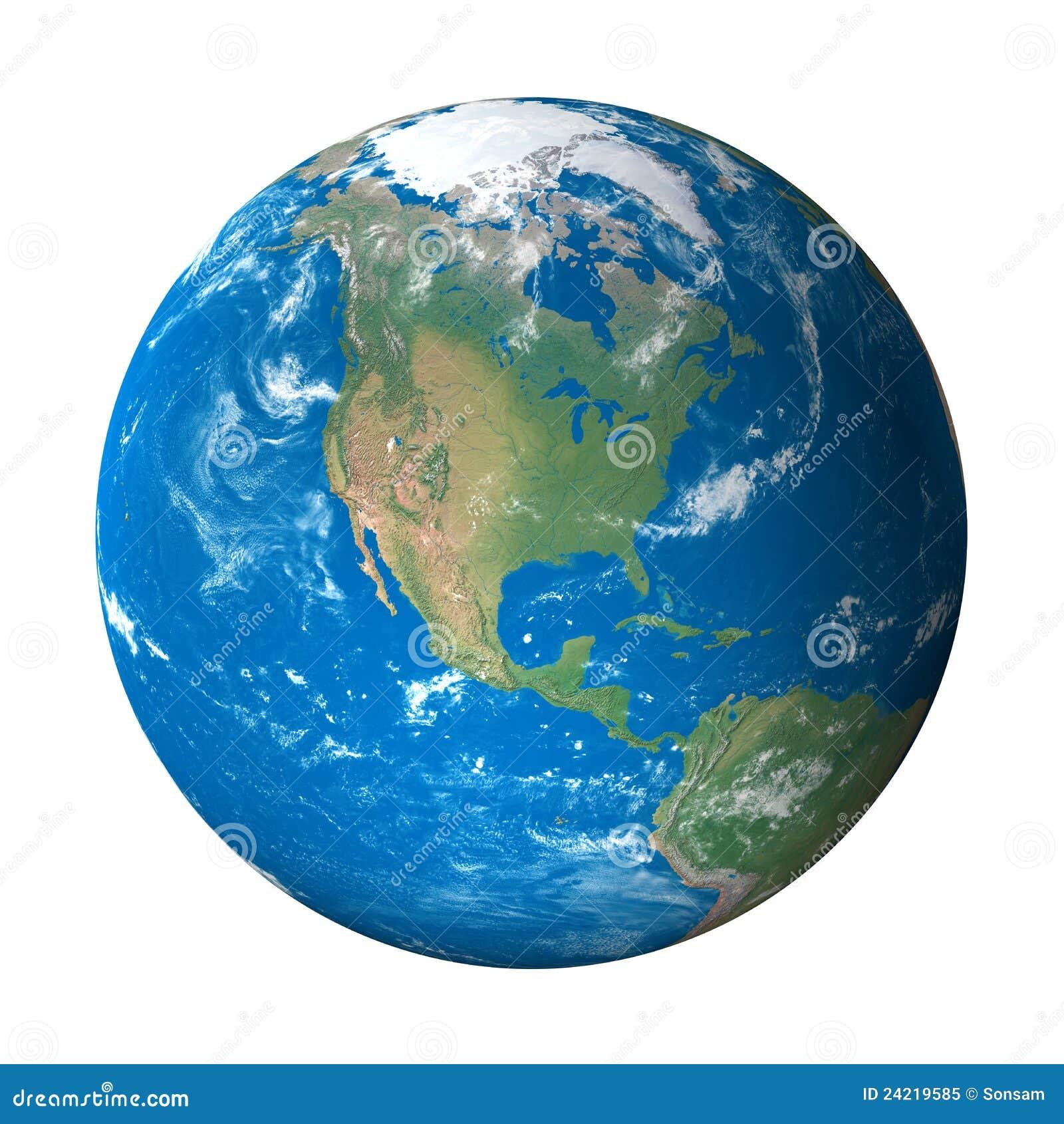 Modelo de terra do espaço: Opinião de America do Norte
