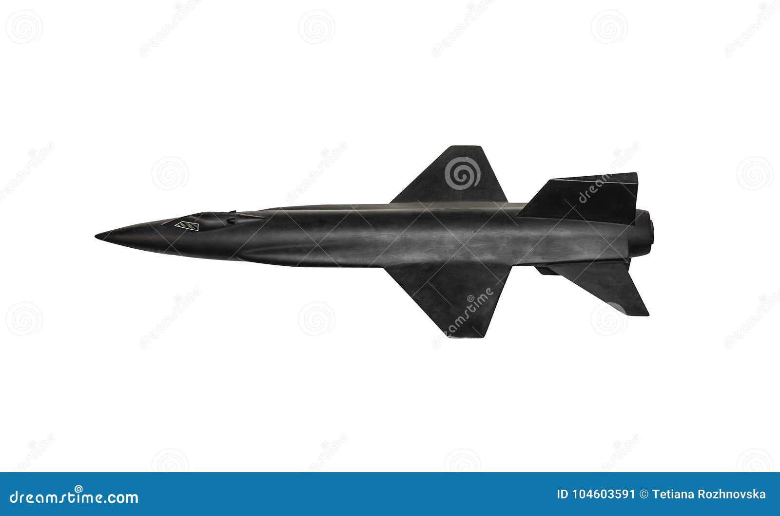 Modelo de um foguete militar em um fundo branco