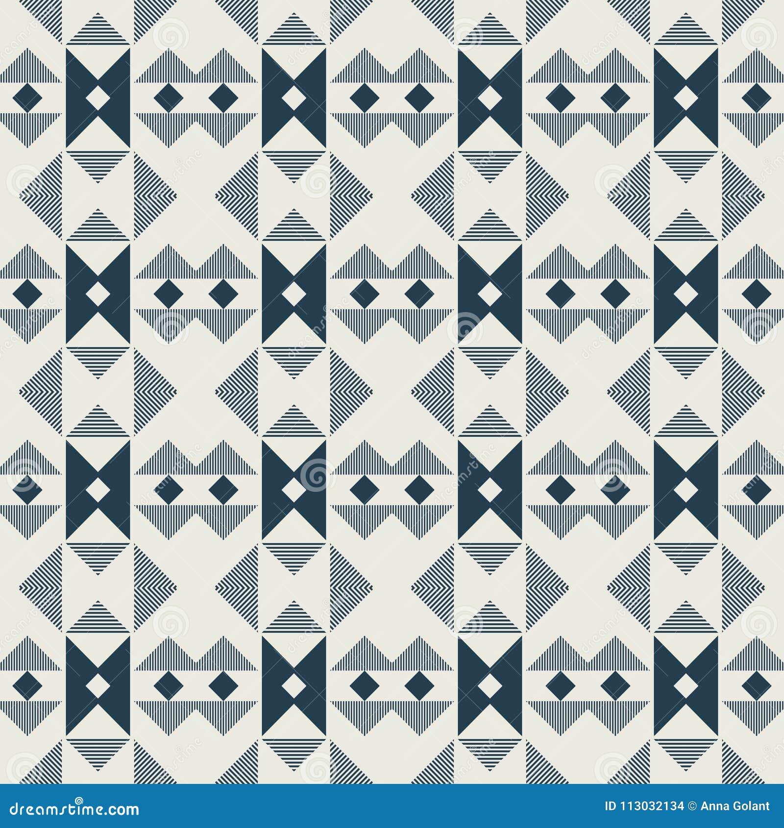 Modelo de Violet Geometric en la repetición Impresión de la tela Fondo inconsútil, ornamento del mosaico, estilo étnico