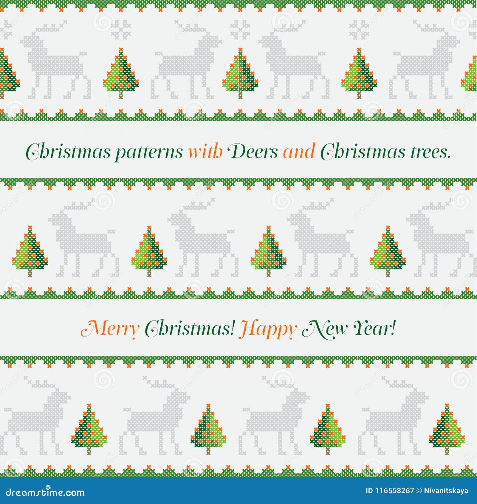 Modelo del Año Nuevo Árboles de navidad, ciervos y copos de nieve Feliz Navidad, ejemplo de la Feliz Año Nuevo