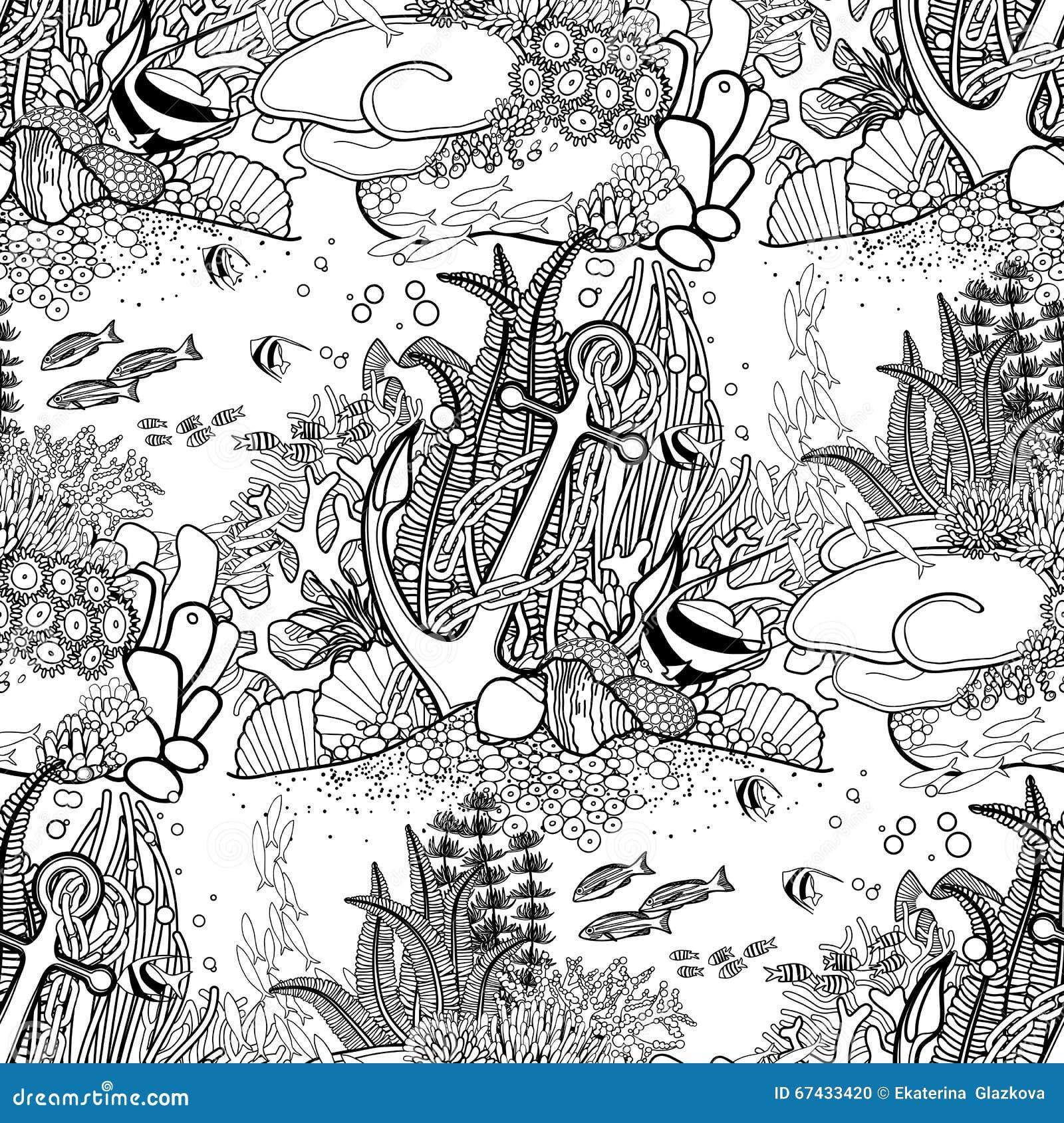 Modelo Del Ancla Y Del Arrecife De Coral Ilustración del Vector ...