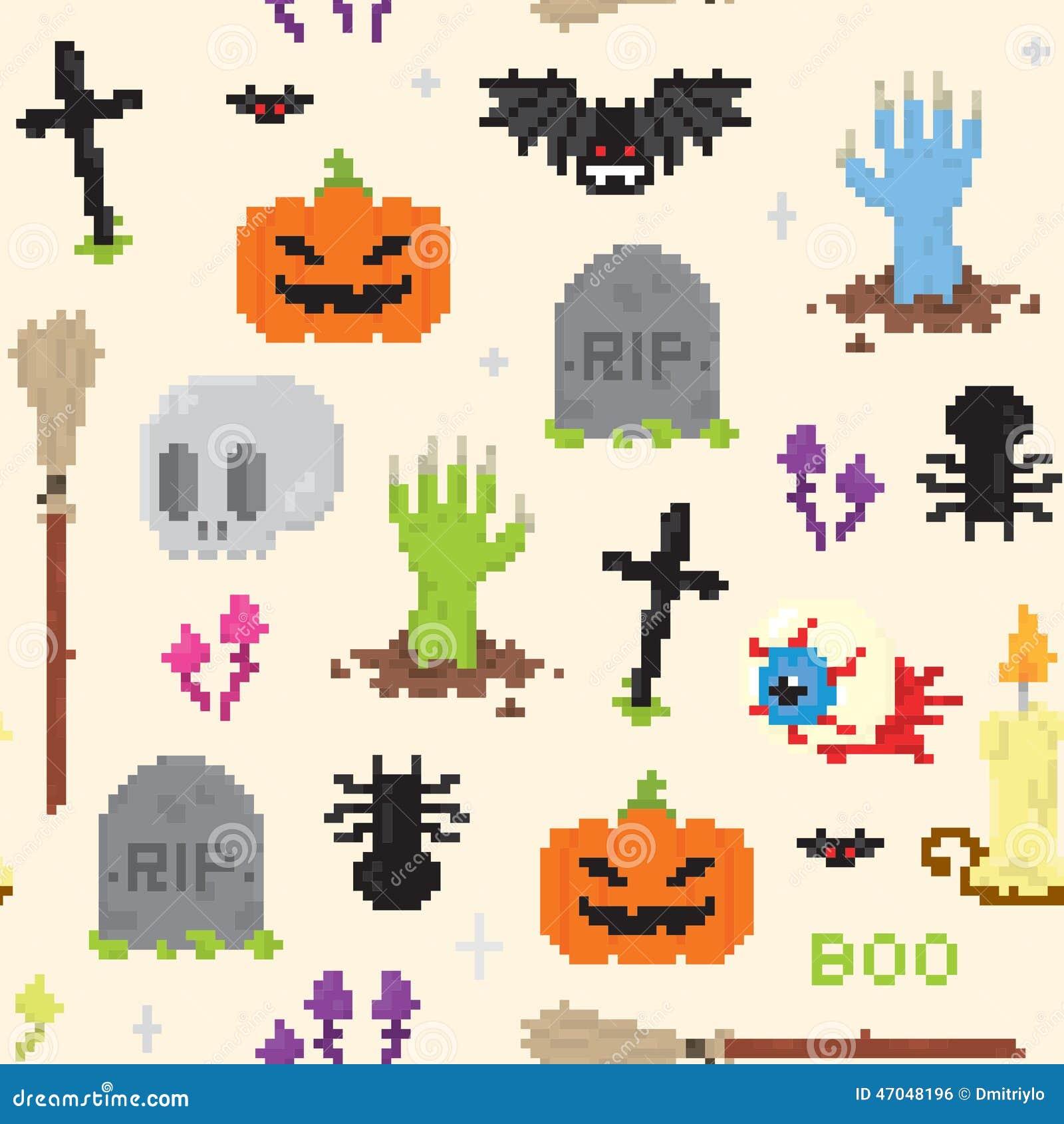 Modelo del arte del pixel de Halloween