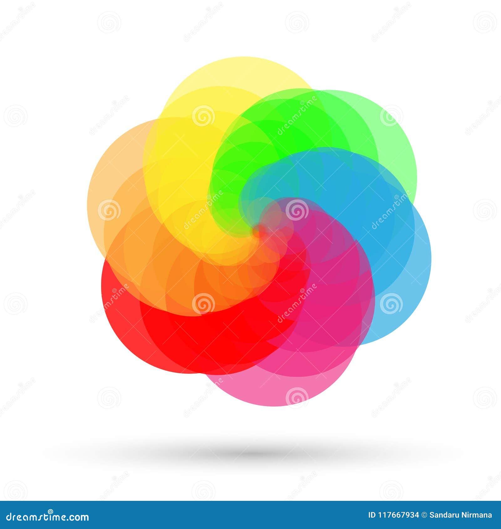 Modelo del círculo coloreado, fondo del logotipo en el fondo blanco