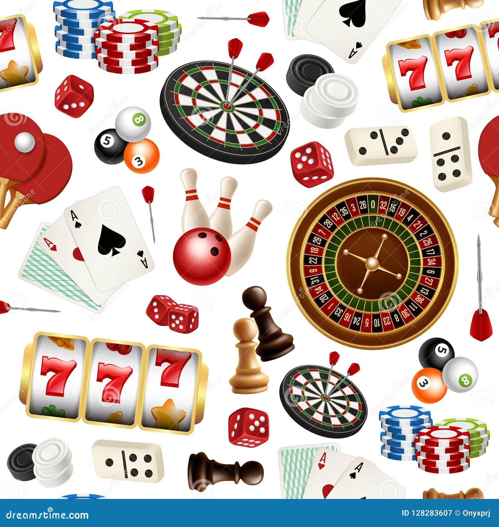 Modelo del casino Los dardos de los bolos del dominó del garabato de las tarjetas del póker roulette símbolos del vector de los i