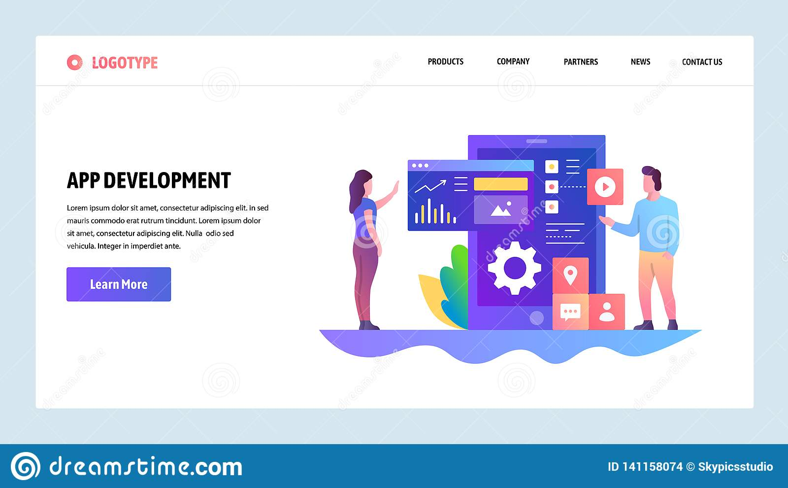 Modelo del diseño del Web site del vector Desarrollo del App, diseño móvil de UI UX, tablero de instrumentos Conceptos de aterriz