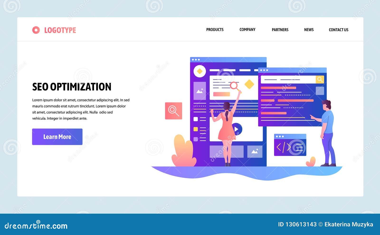 Modelo del diseño del Web site del vector Optimización SEO de los motores de la búsqueda y márketing digital Conceptos de aterriz