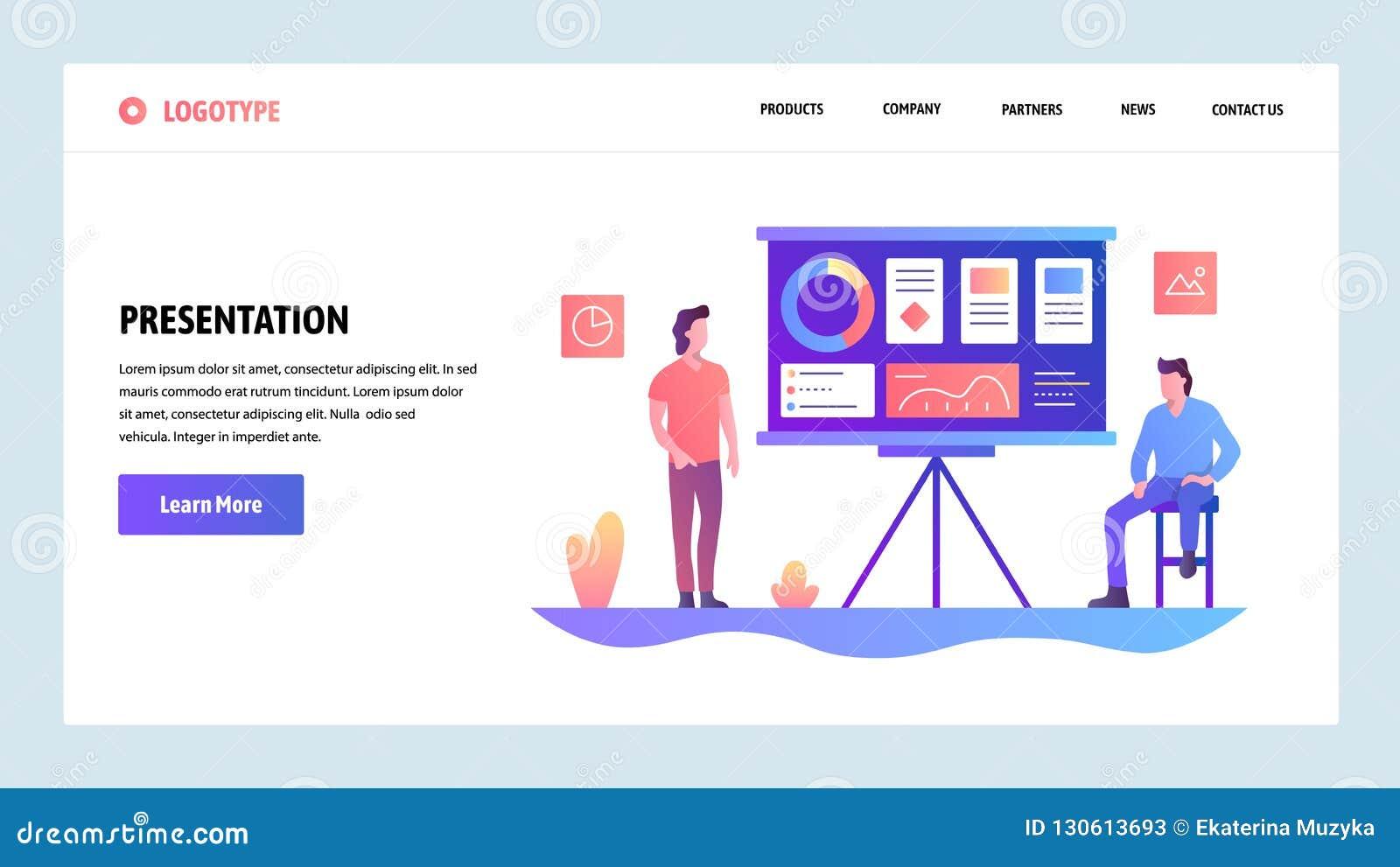 Modelo del diseño del Web site del vector Presentación del negocio con las cartas financieras Conceptos de aterrizaje de la págin