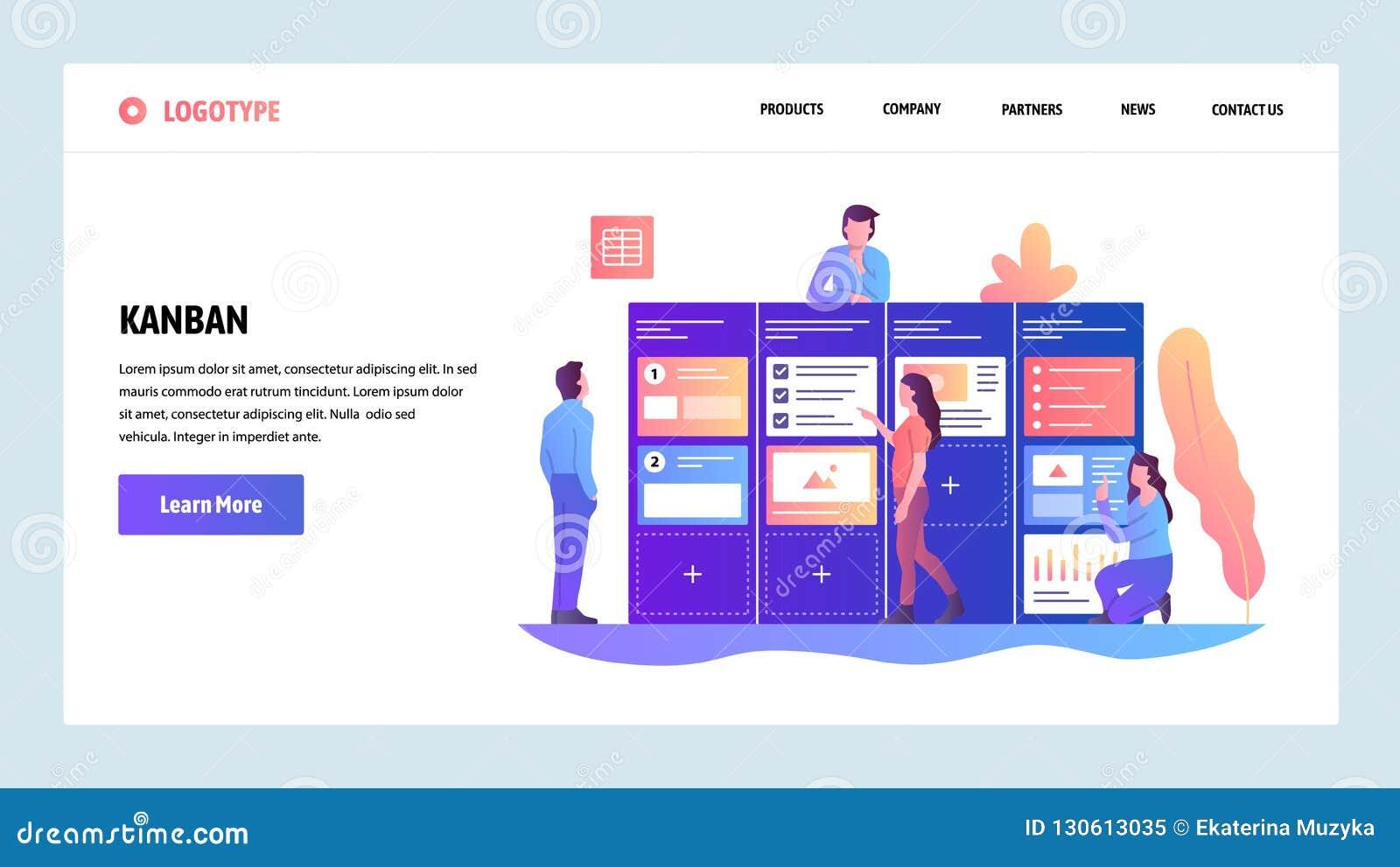 Modelo del diseño del Web site del vector Tablero gestión del proyecto y de la tarea ágiles del melé Desarrollo de programas ágil