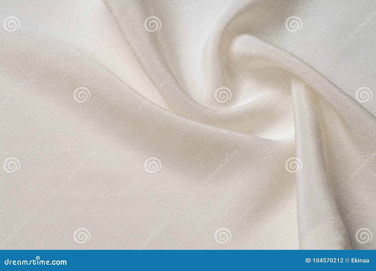 Modelo del fondo de la textura Tela de seda blanca Primer de un ripp