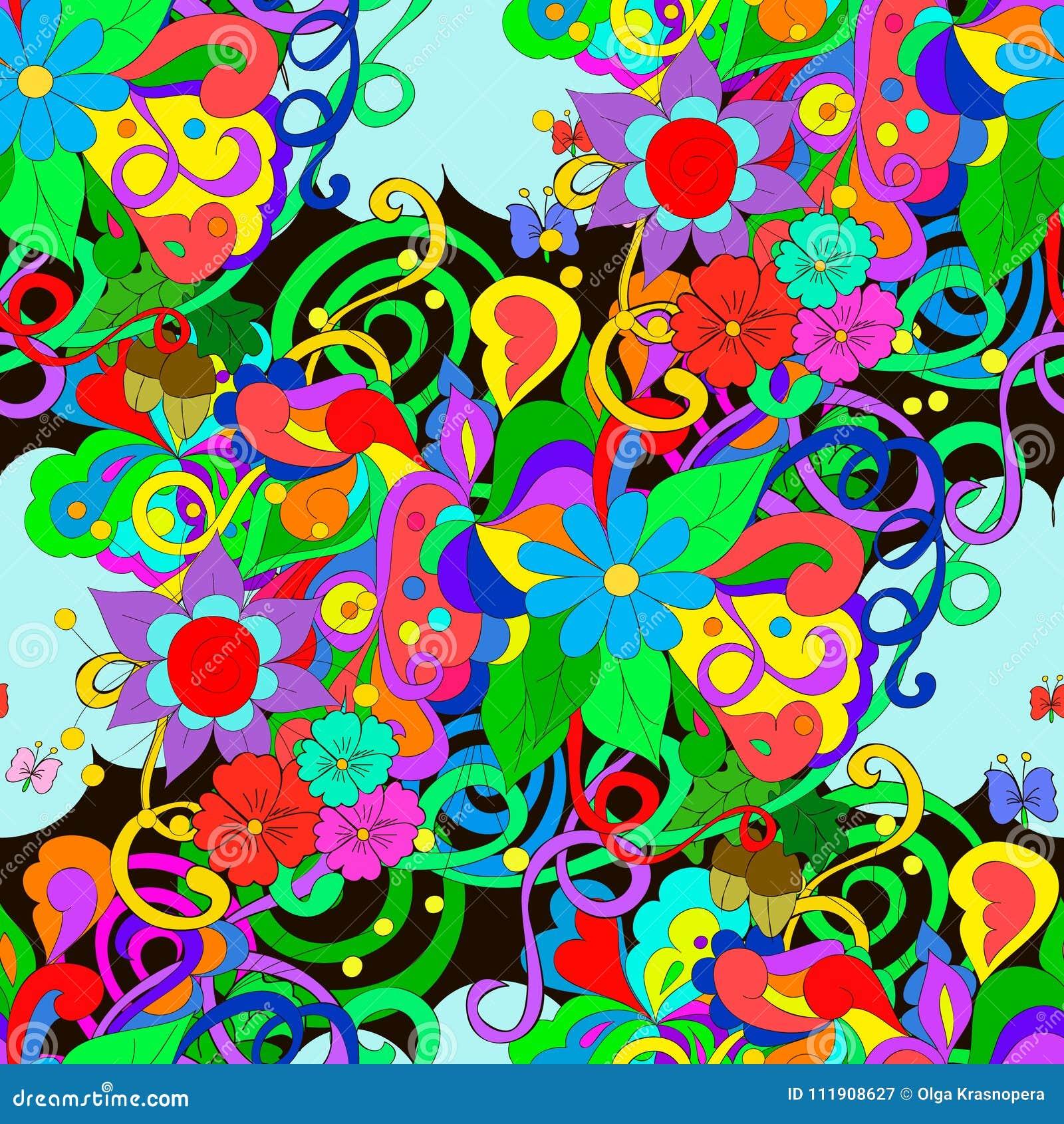Modelo del garabato con las flores y los remolinos