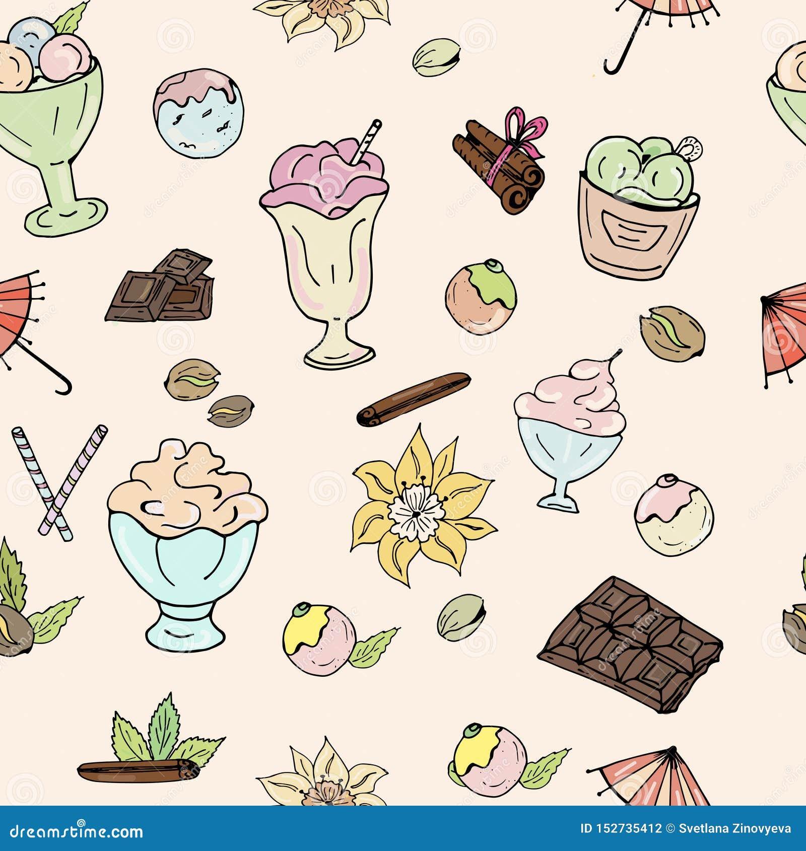 Modelo del helado, del chocolate, de nueces, de la vainilla y del canela en un fondo ligero