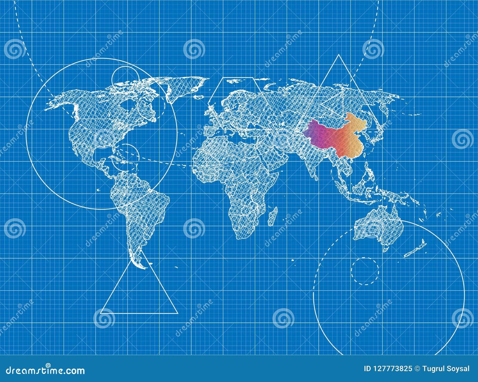 Mapa Del Mundo China.Modelo Del Mapa Del Mundo A China Stock De Ilustracion Ilustracion De Mapa Modelo 127773825