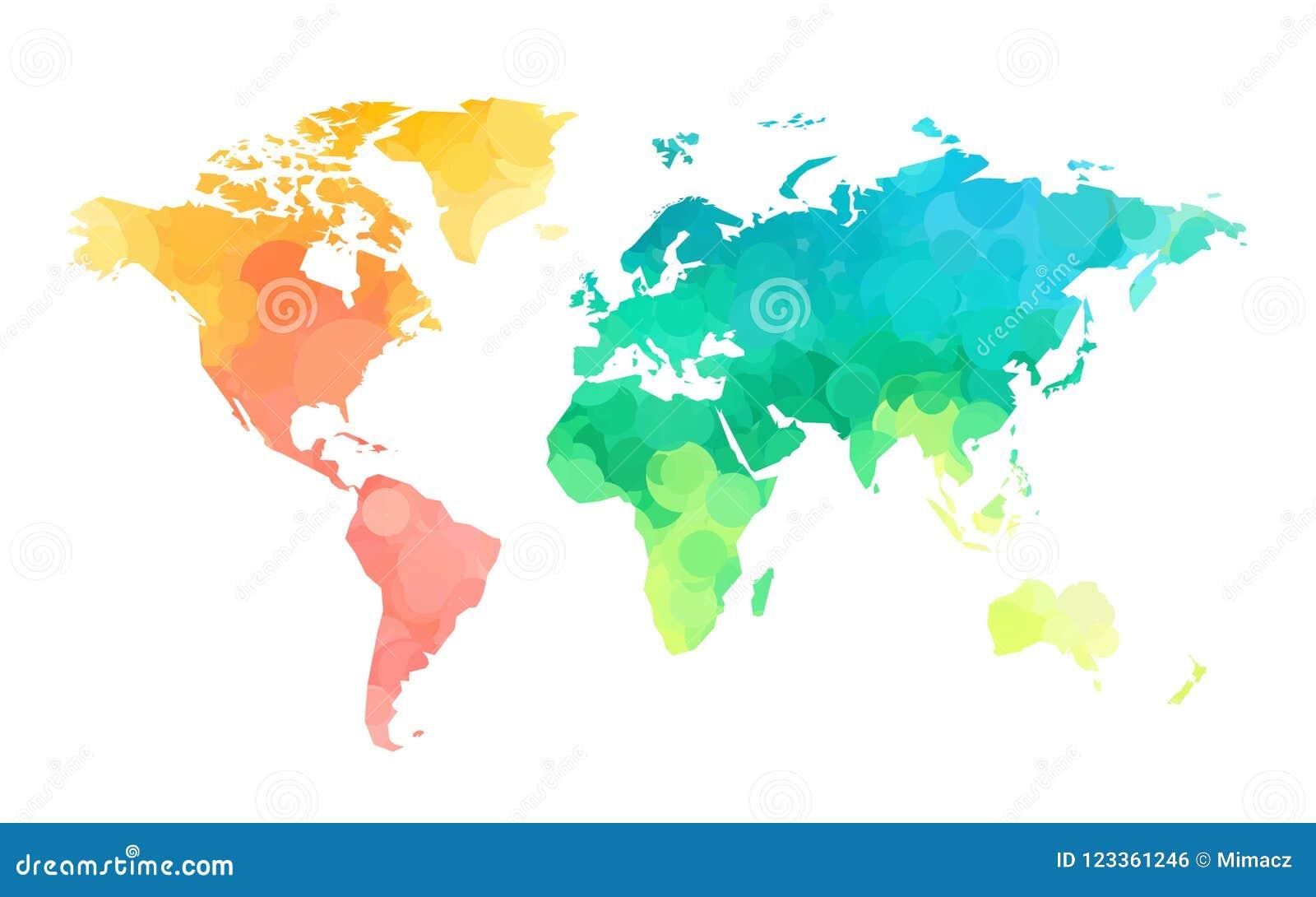 Modelo del mapa del mundo de los círculos de color
