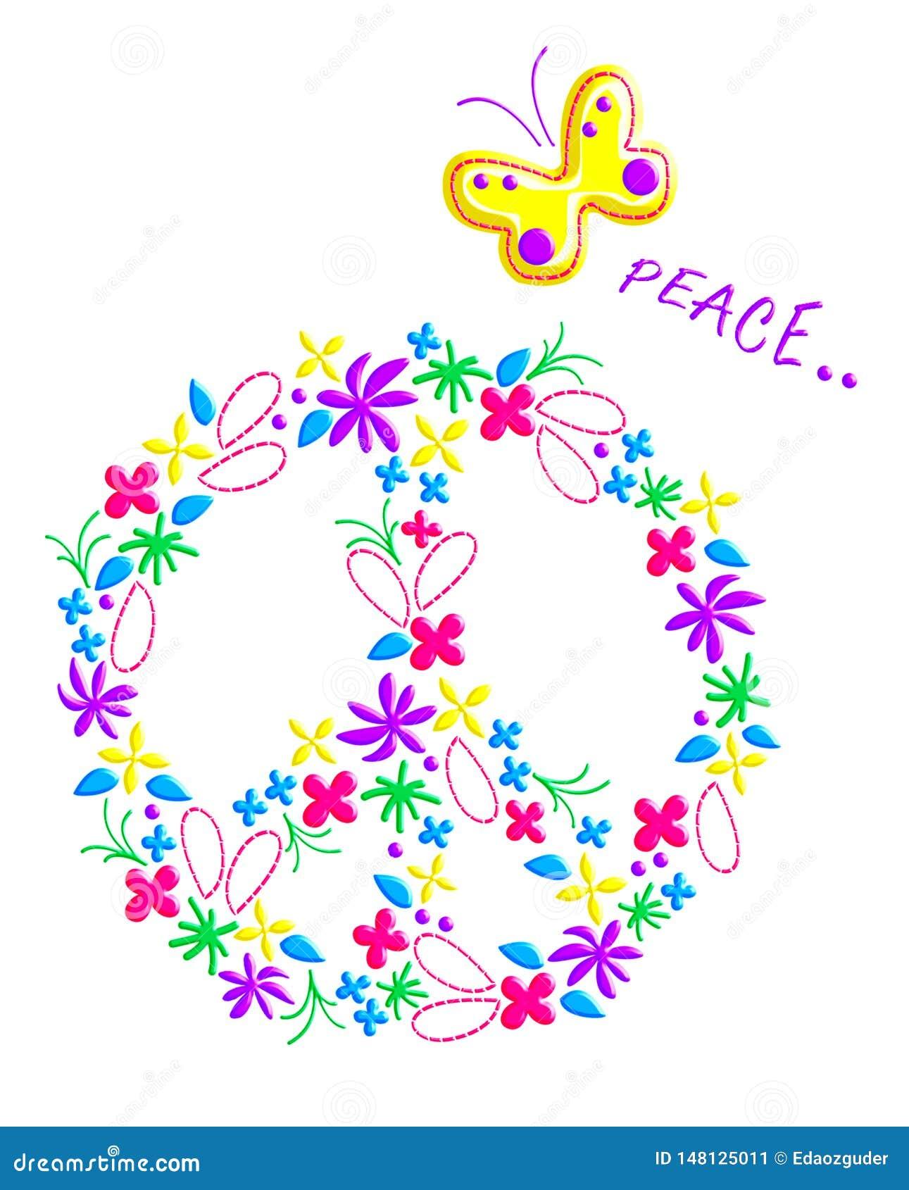 Modelo del signo de la paz, gráficos para los niños, impresión de la camiseta