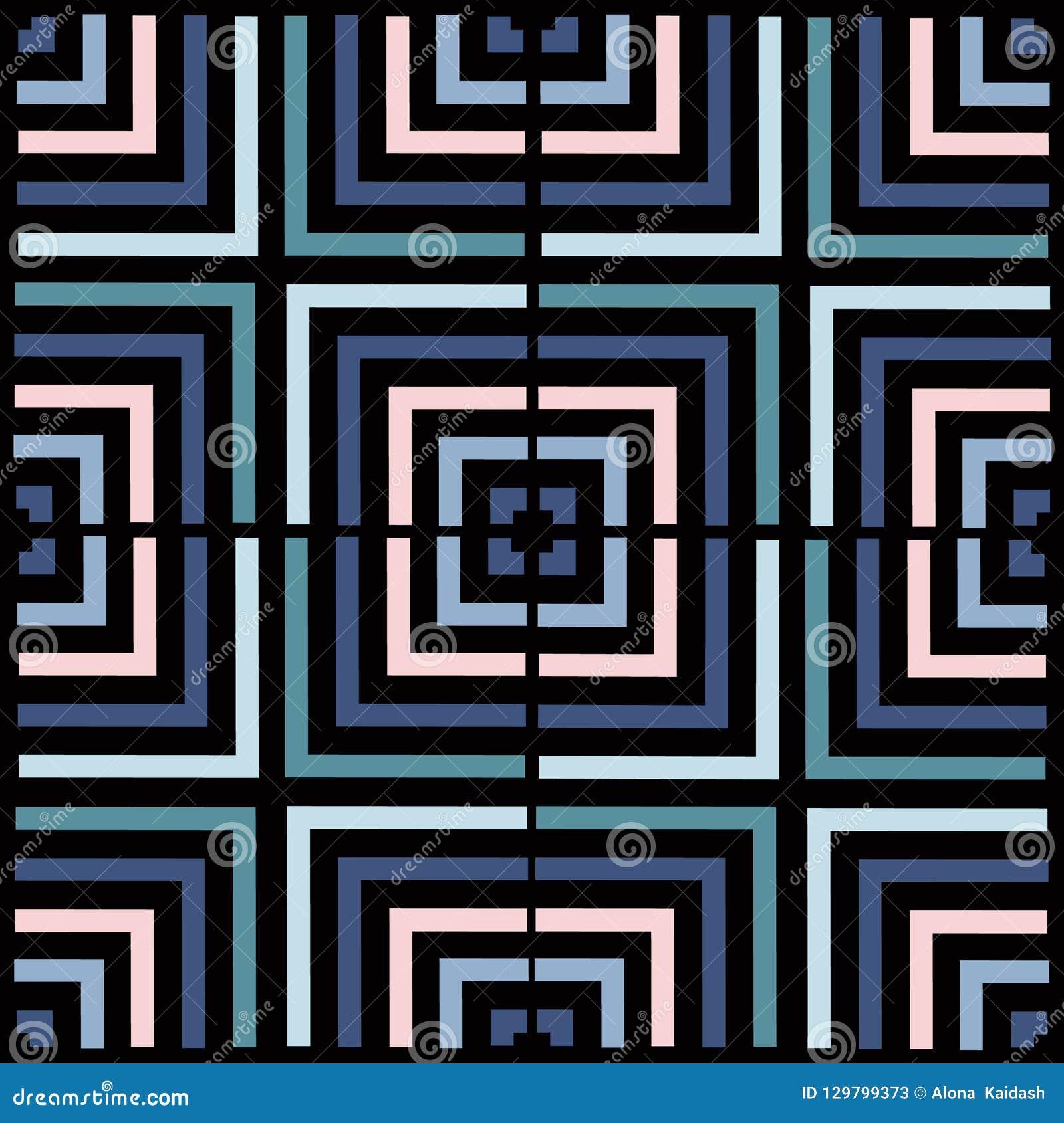 Modelo del vector del cuadrado de la geometría Ornamento inconsútil étnico Fondo abstracto - líneas coloridas