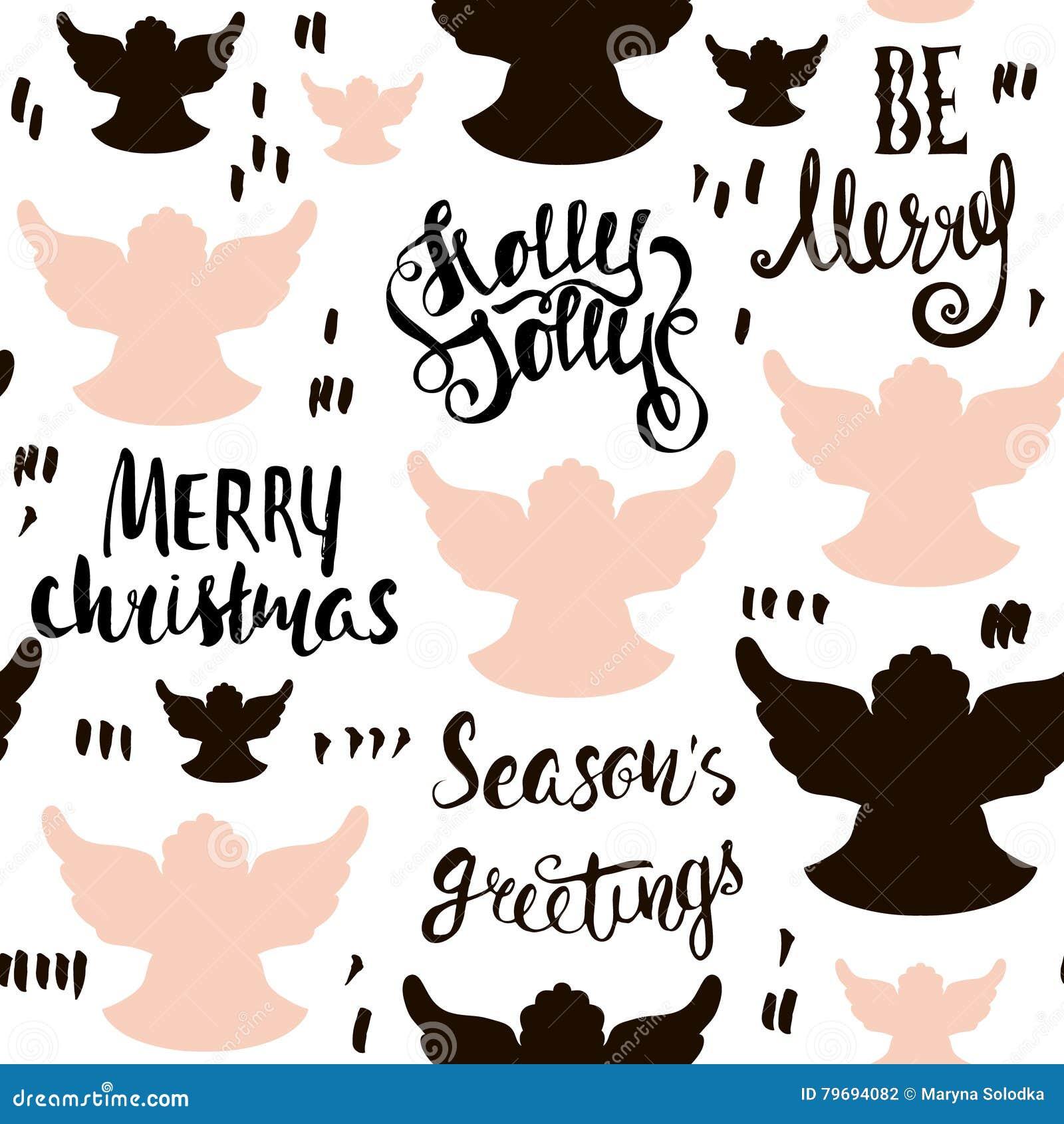 Modelo dibujado mano inconsútil del día de fiesta con ángeles de la Navidad y letras escritas mano Ilustración del vector