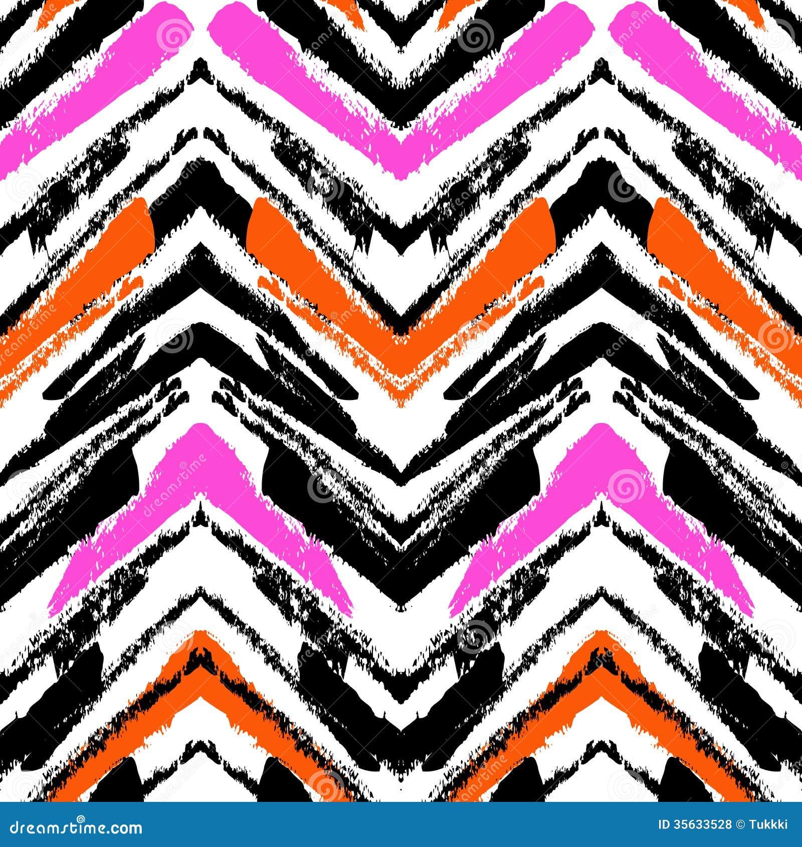 Modelo dibujado mano multicolora con las líneas del zigzag