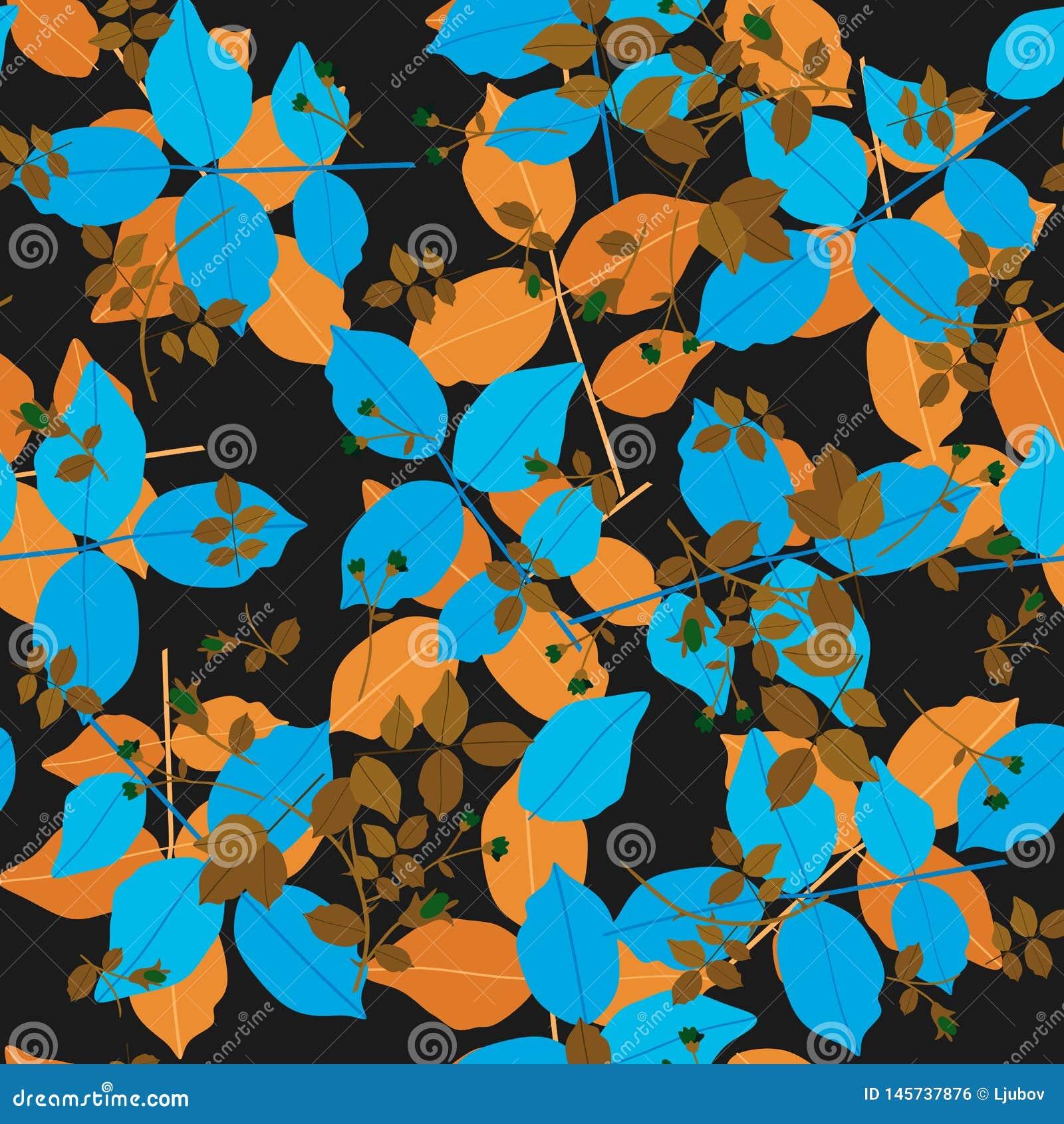Modelo ditsy hermoso con las hojas azules y anaranjadas grandes, y pequeñas ramitas de bronce con los brotes verdes en fondo negr