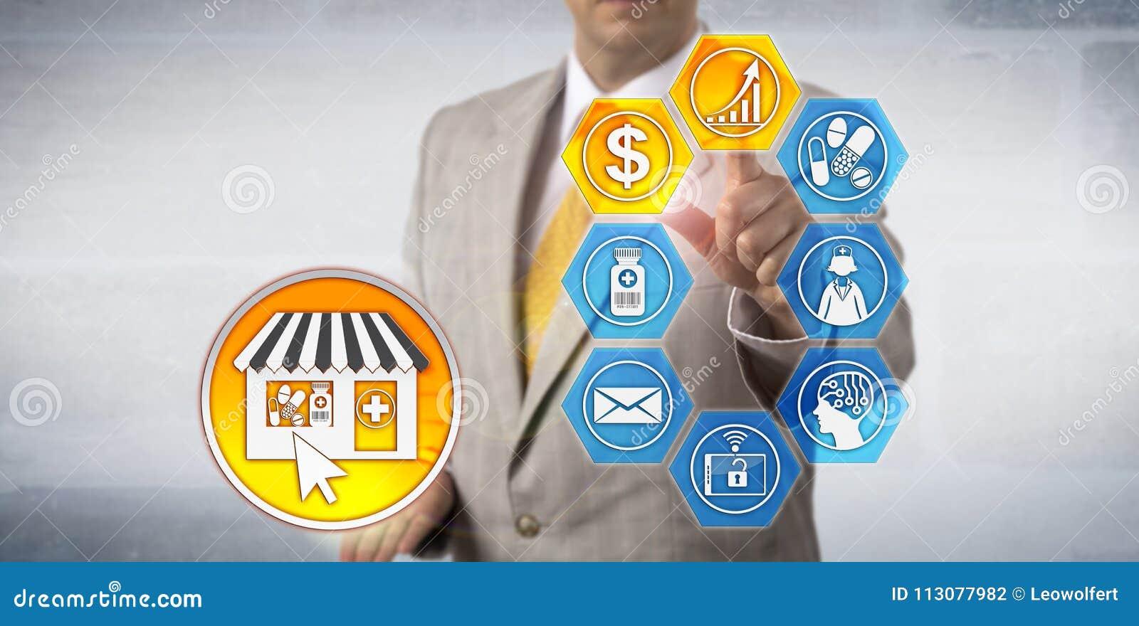 Modelo do crescimento de lucro da e-farmácia de Presenting do vendedor