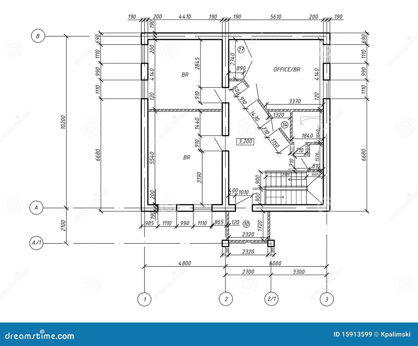 Modelo Do Desenho Da Planta Do Cad Ilustra 231 227 O Stock