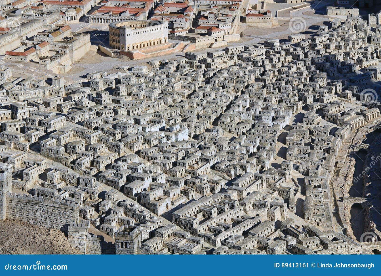 Modelo do Jerusalém antigo que centra-se sobre casas superiores da cidade