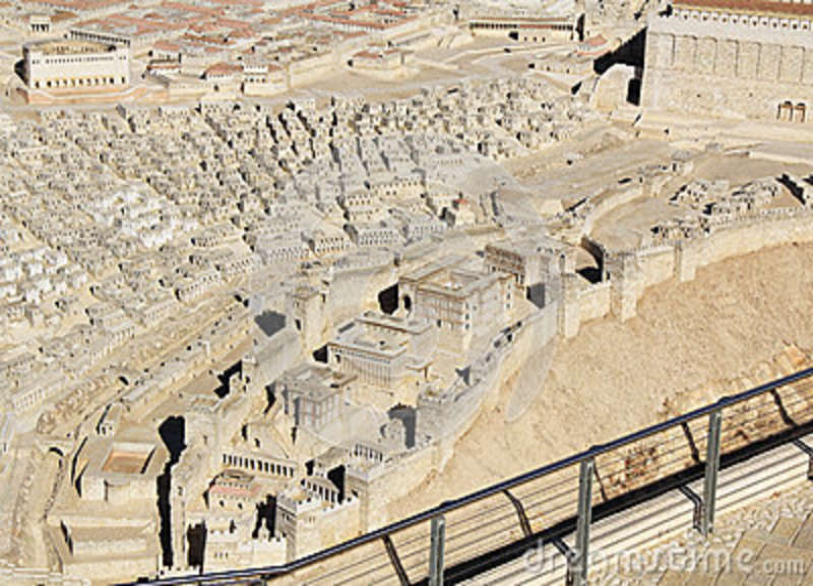 Modelo do Jerusalém antigo que focaliza na cidade mais baixa