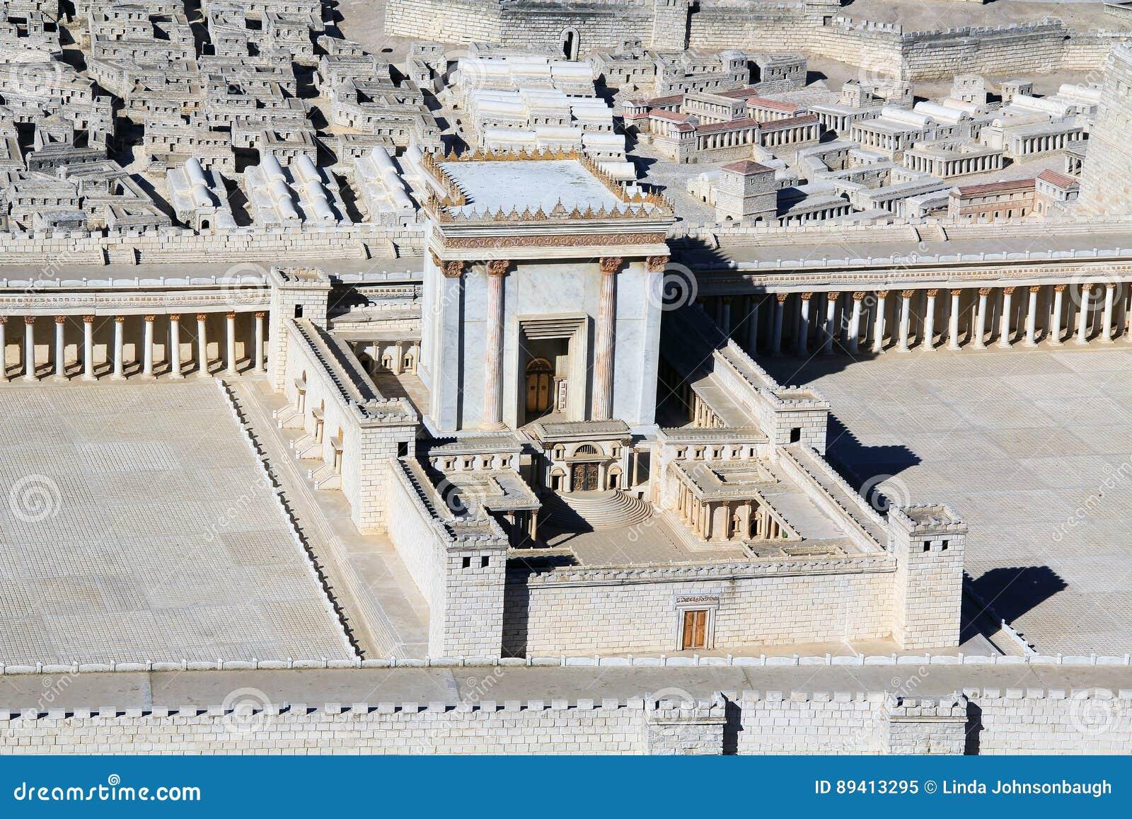 Modelo do templo no Temple Mount no Jerusalém antigo