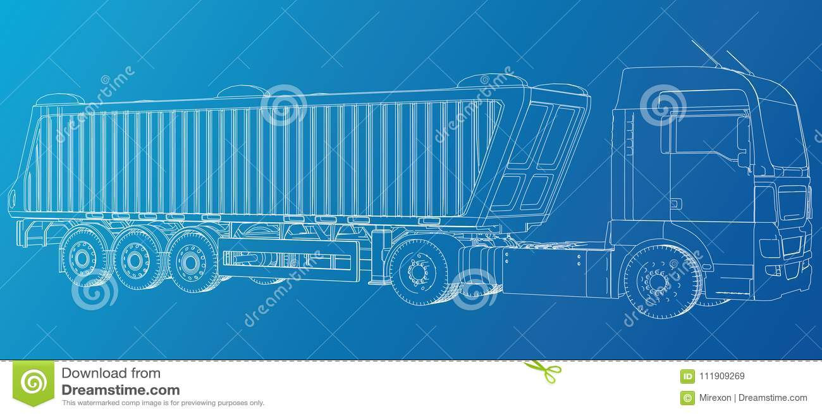Modelo do vetor do reboque do caminhão basculante do caminhão para anunciar Ilustração criada de 3d Fio-quadro