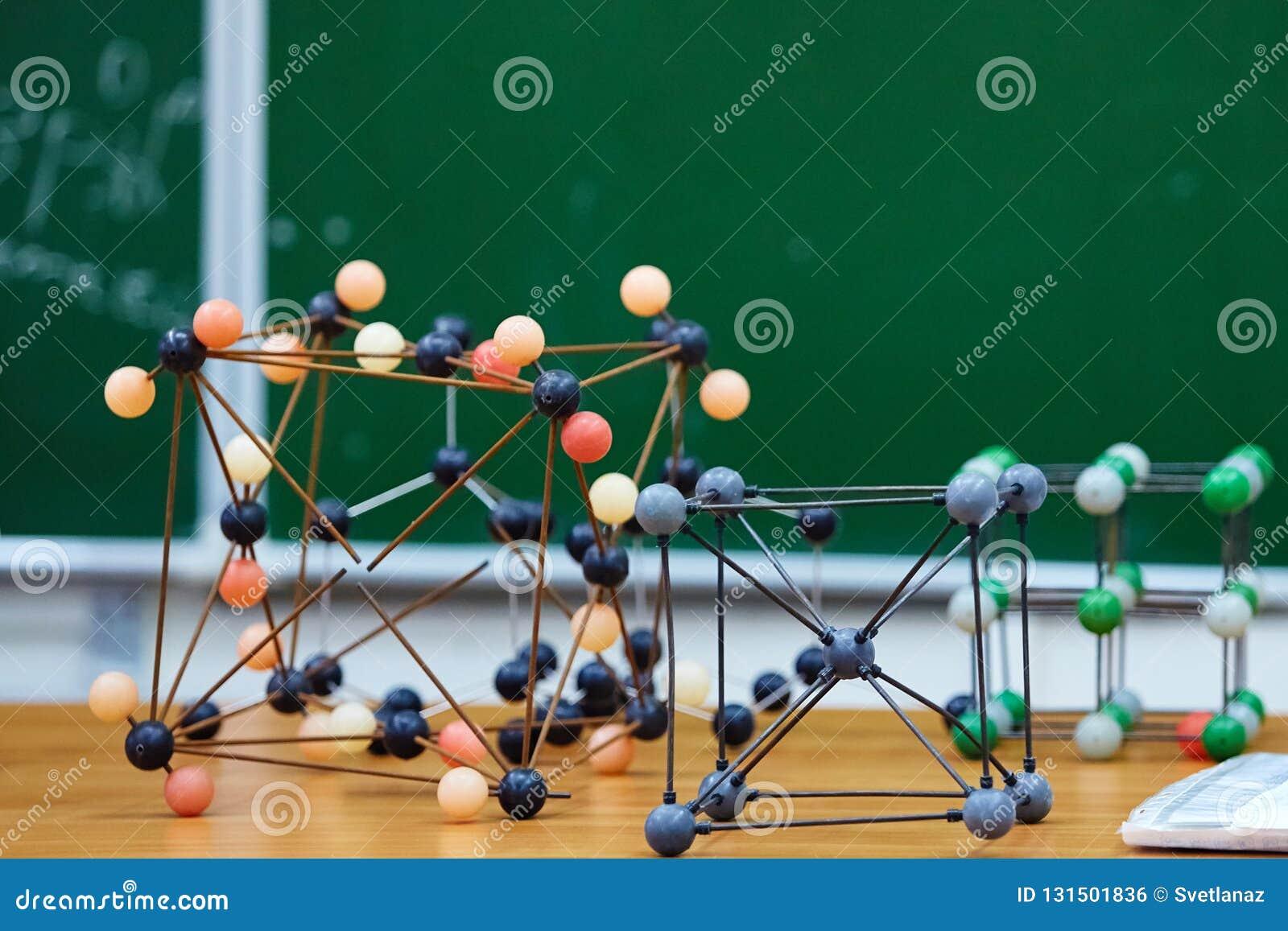 Modelo educacional molecular plástico No fundo da administração da escola