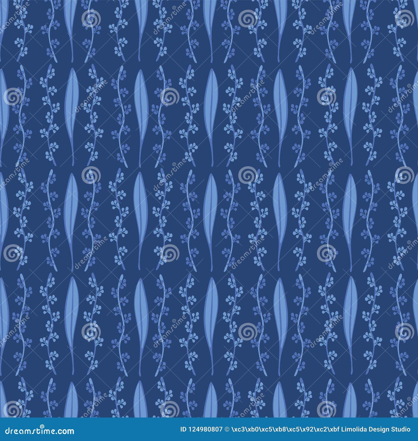 Modelo elegante Geo del flor de la hoja de los azules marinos