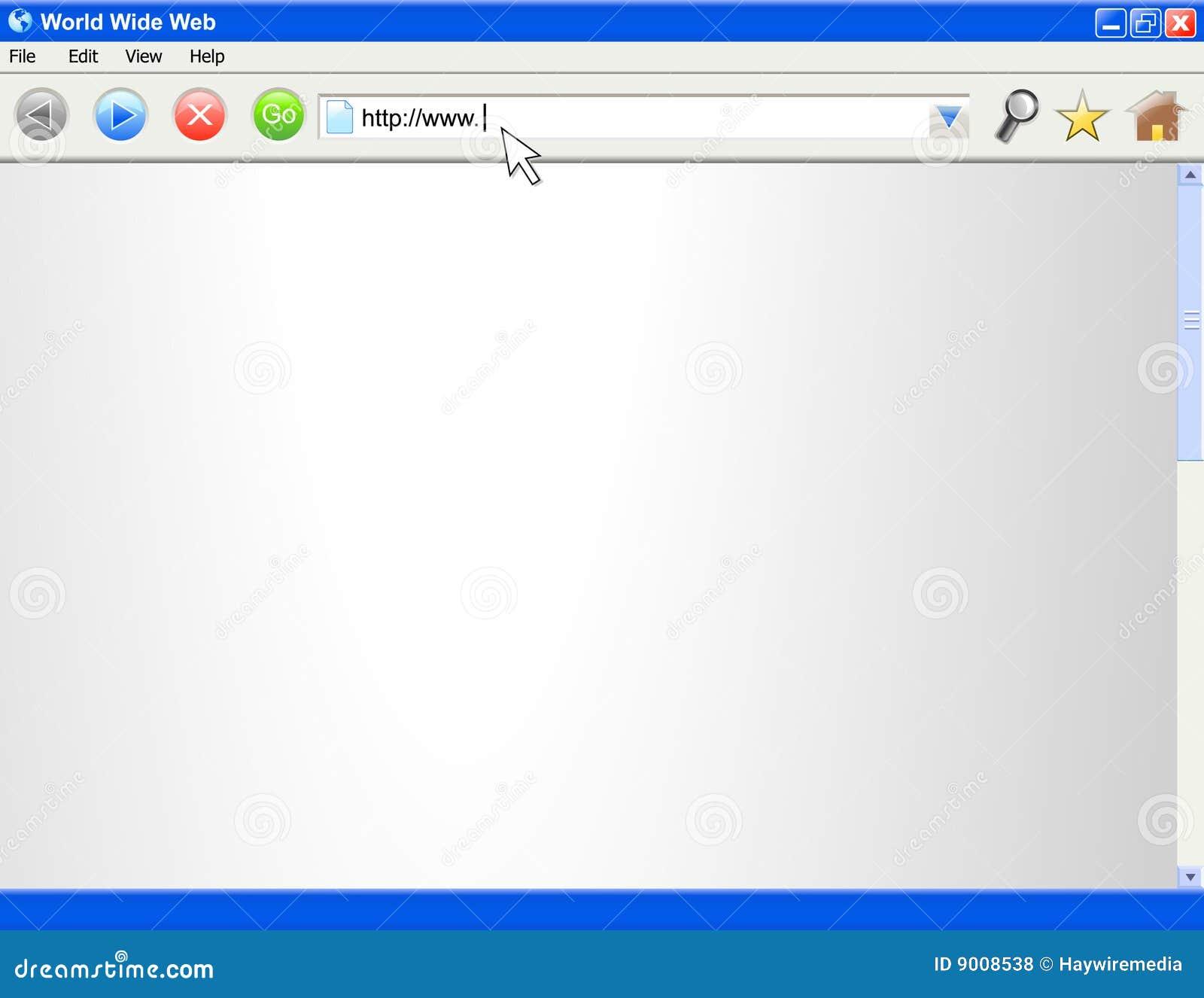 Modelo en blanco de la pantalla del hojeador de Internet