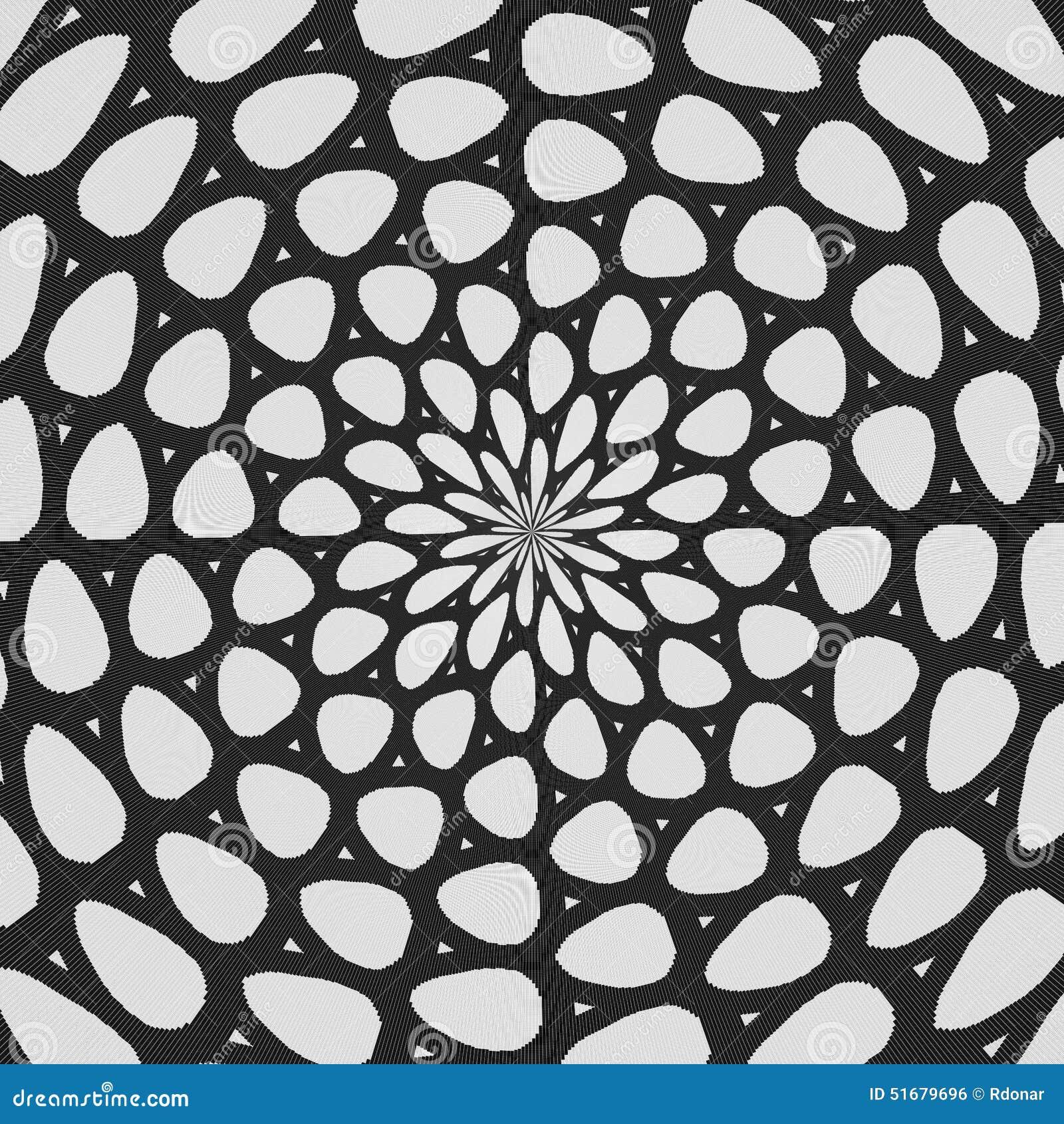 Modelo encrespado blanco y negro regular alineado radialmente Línea de semitono ejemplo del anillo Fondo abstracto del fractal