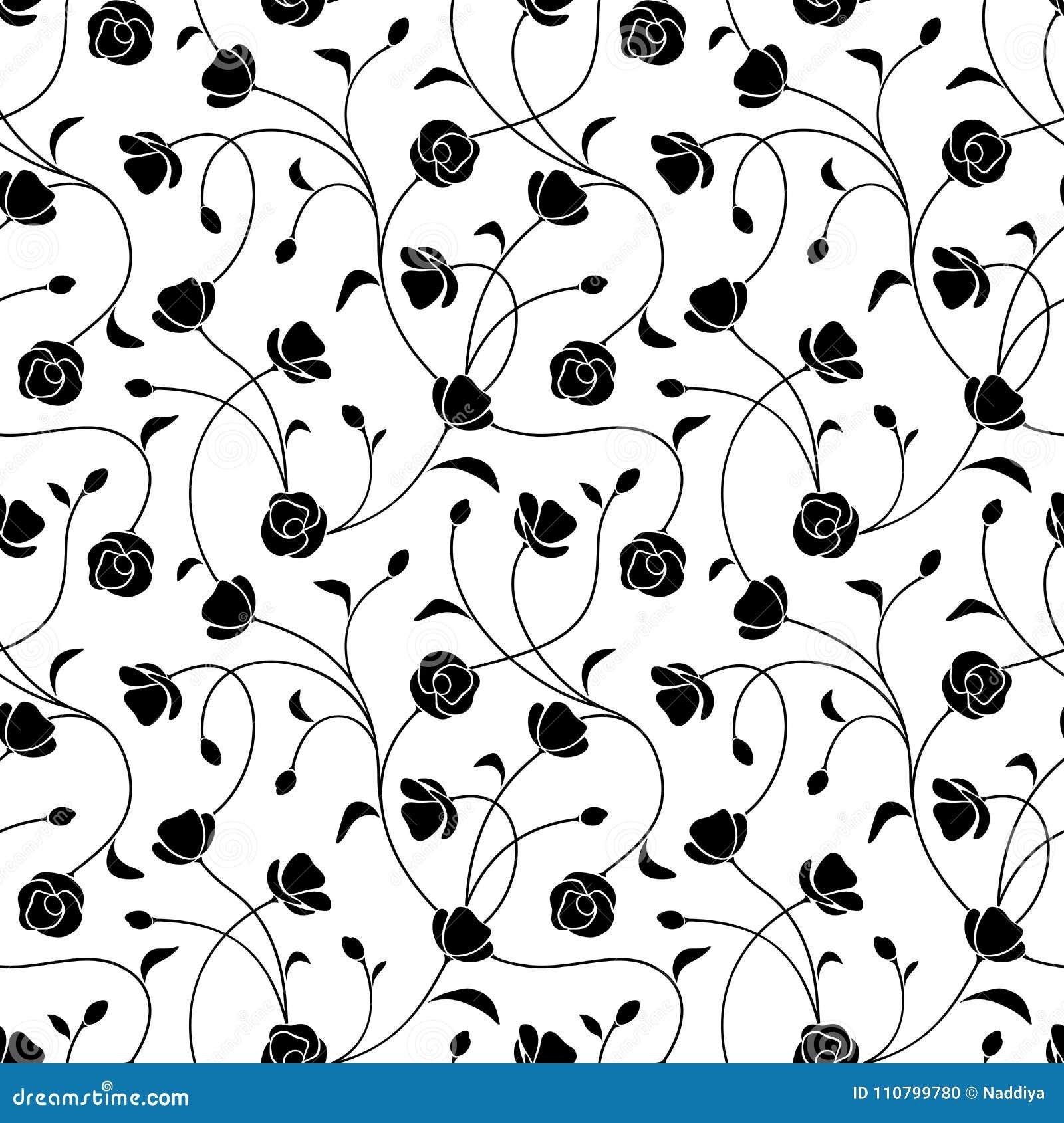 Modelo floral blanco y negro inconsútil Ilustración del vector