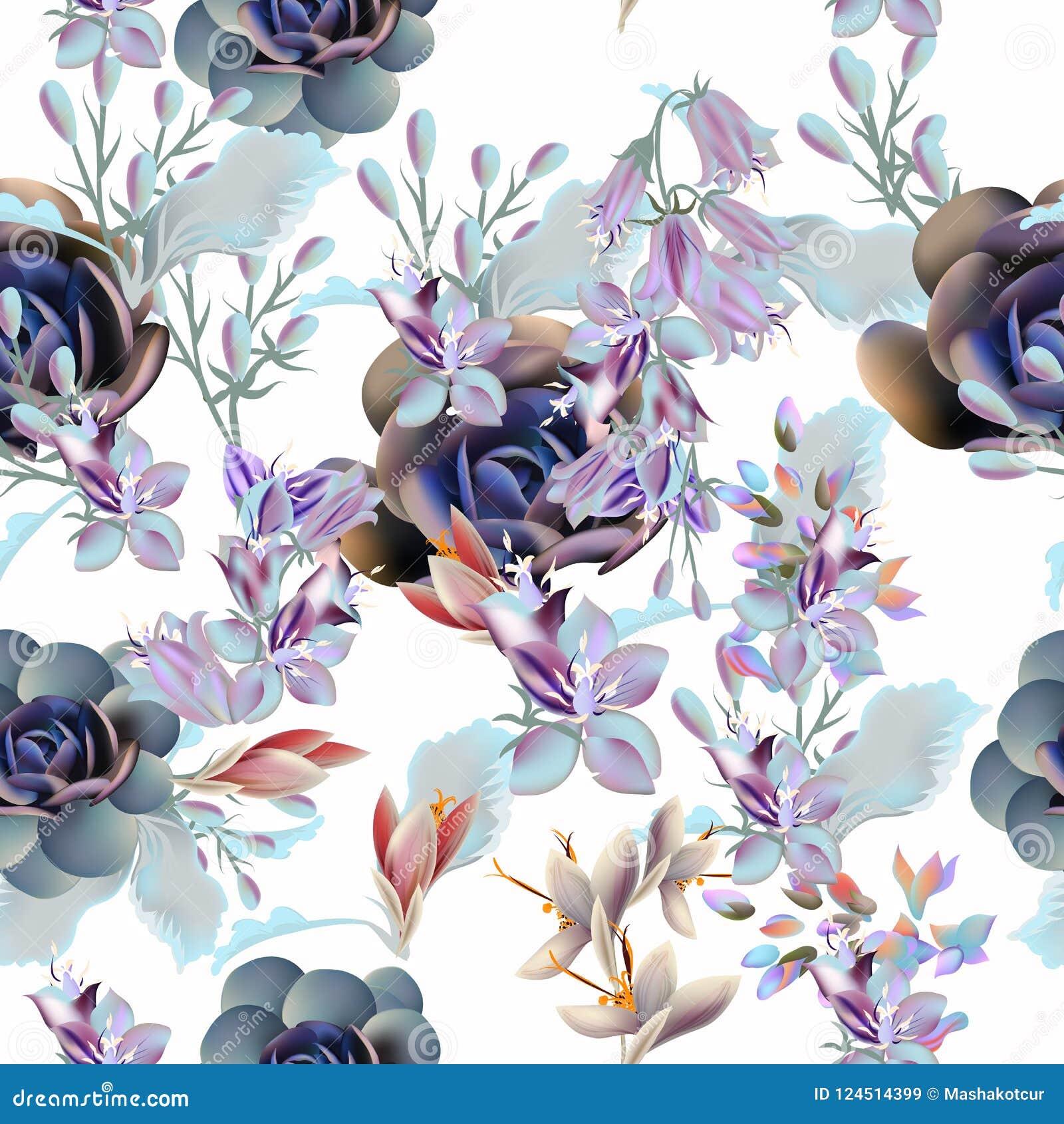 Modelo floral del vector con las plantas y las flores suculentas
