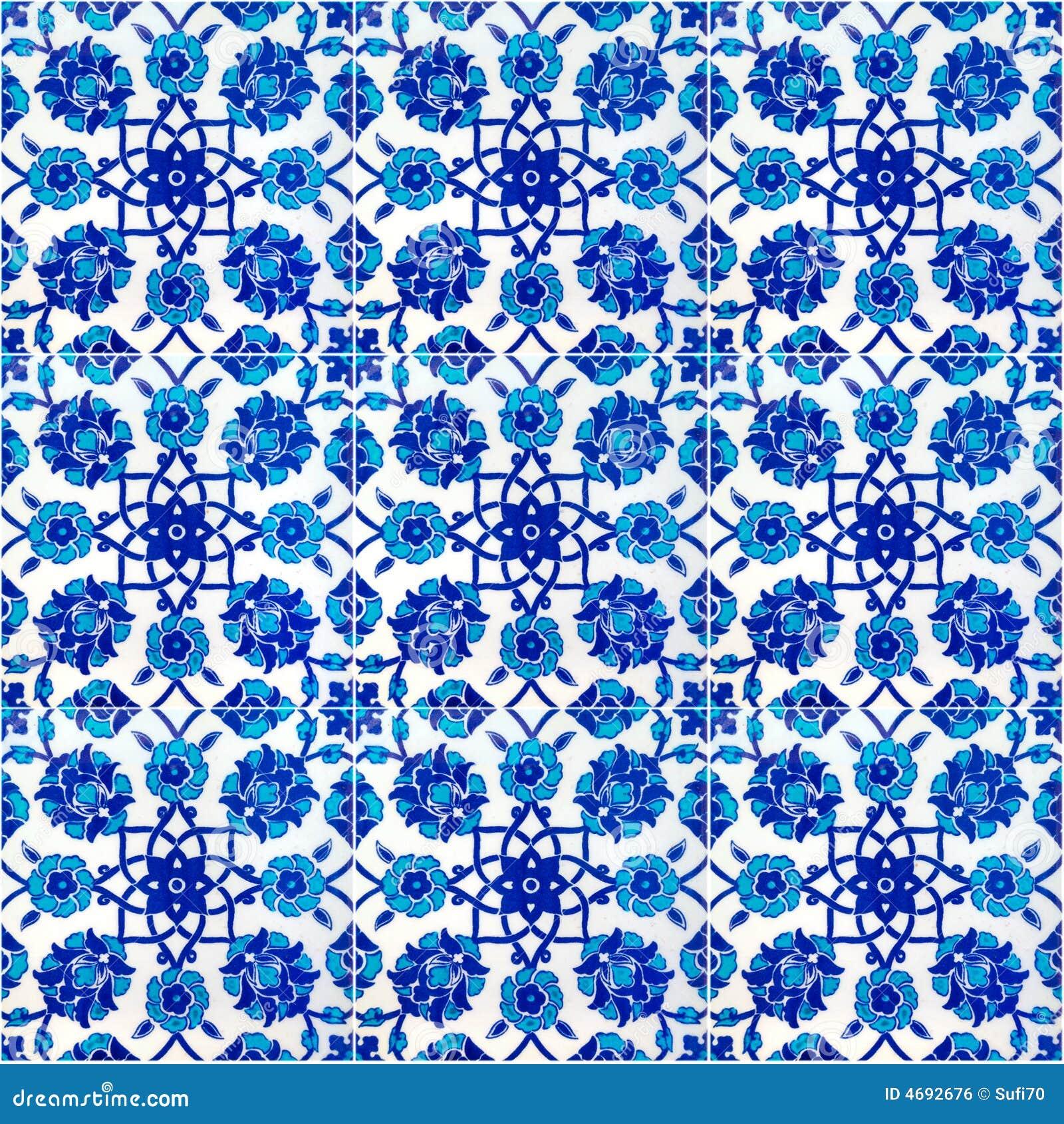Modelo floral en los azulejos turcos viejos, Estambul