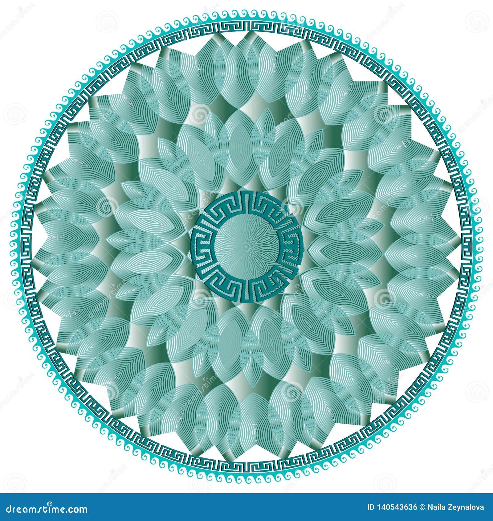 Modelo floral griego de la mandala del vector de la ronda moderna Línea azul flores del arte 3d, hojas, formas La llave griega se