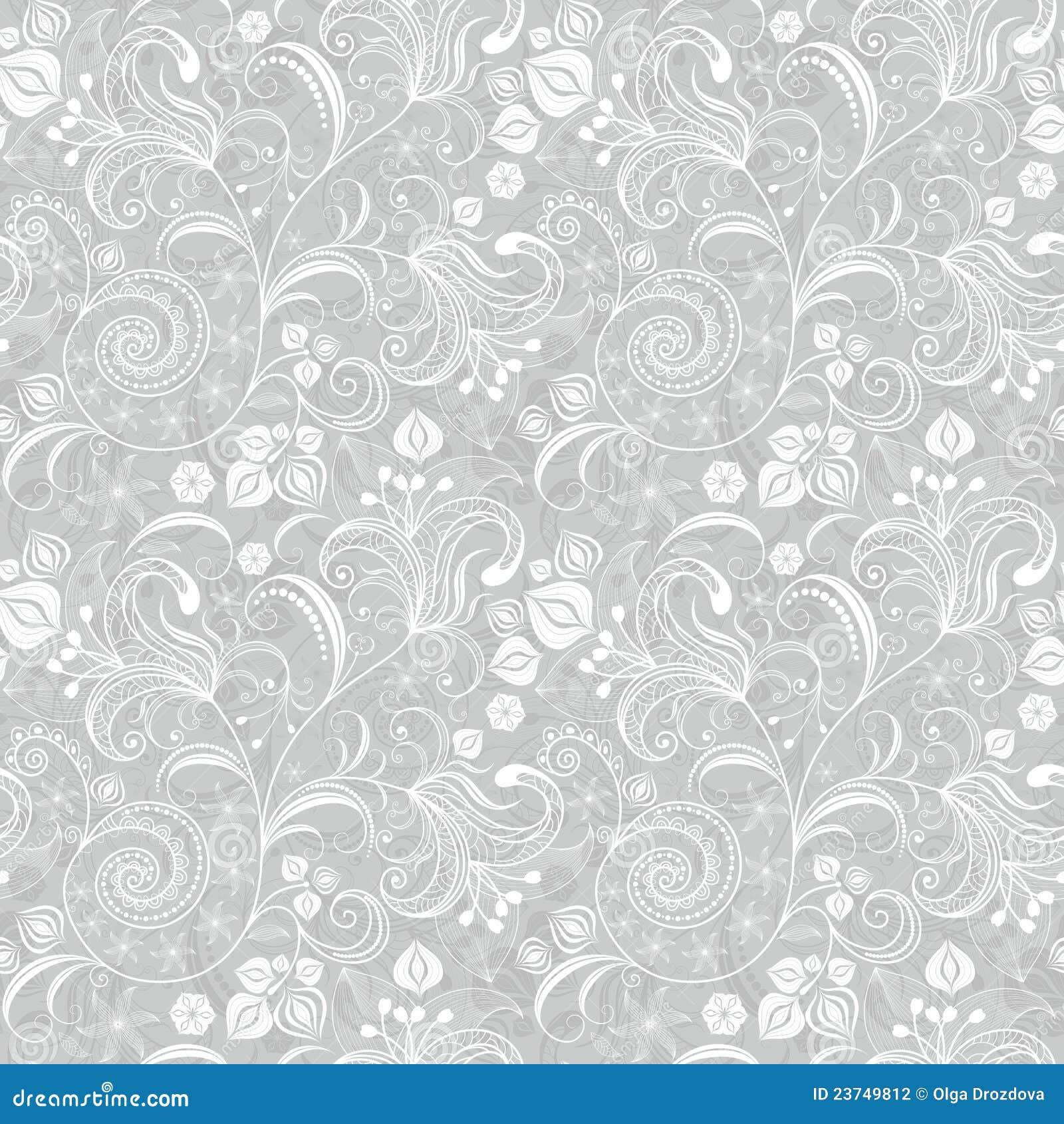 Modelo floral gris inconsútil