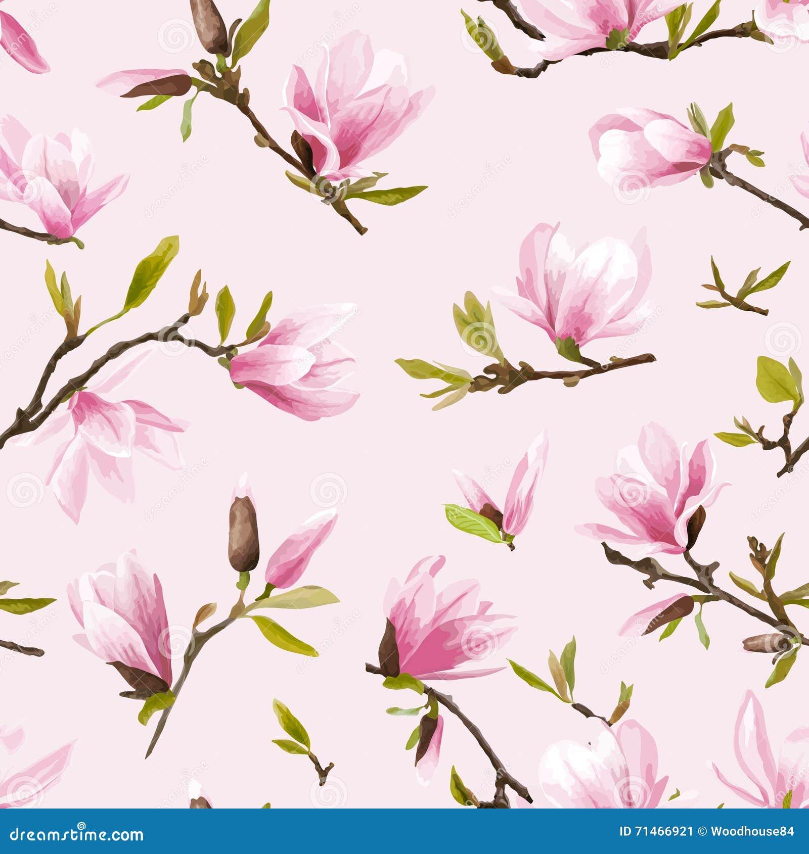 Modelo floral inconsútil Fondo de las flores y de las hojas de la magnolia