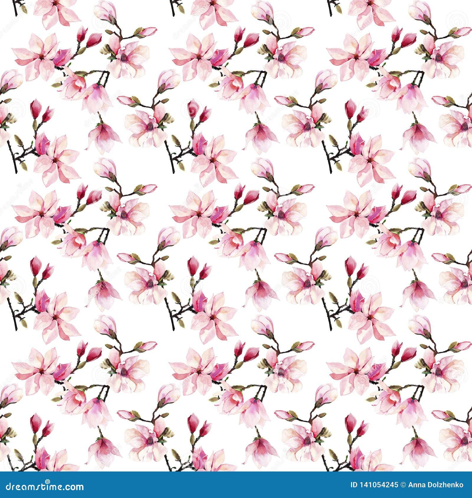 Modelo floral maravilloso herbario del verano de la oferta preciosa hermosa de las flores japonesas rosadas de una magnolia