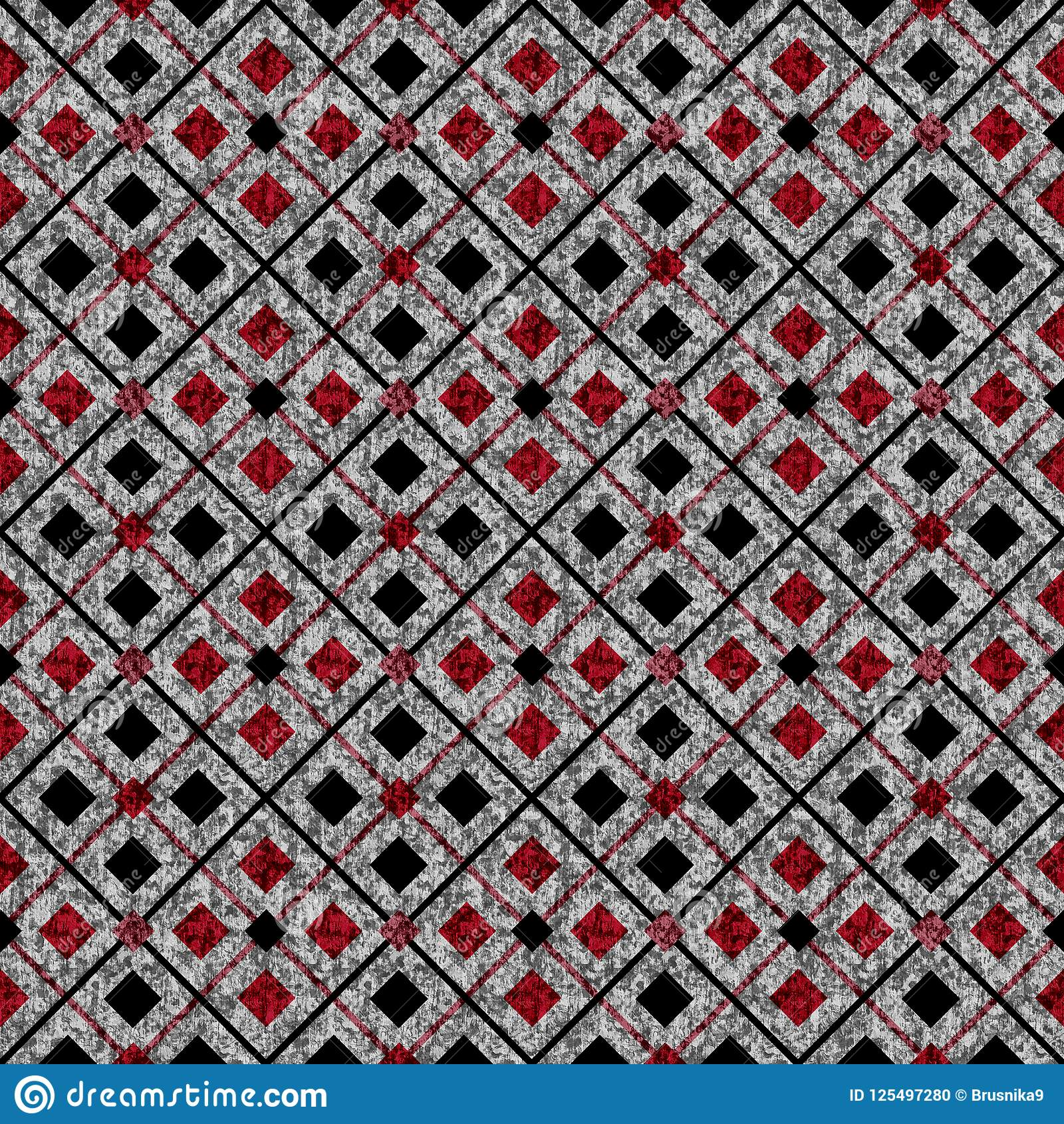Modelo geométrico abstracto inconsútil Casillas negras rojas, en fondo gris