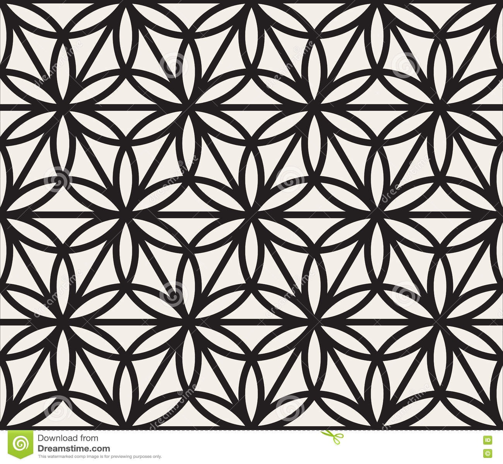 Modelo geométrico blanco y negro inconsútil de la forma del triángulo del círculo del vector