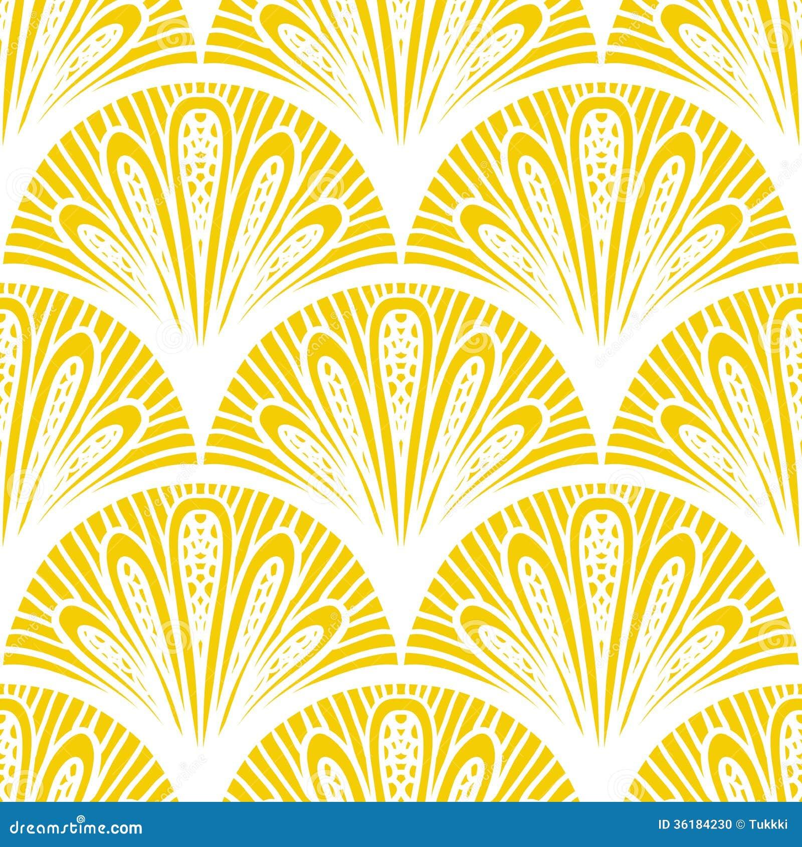 Modelo geométrico del vector del art déco en amarillo brillante