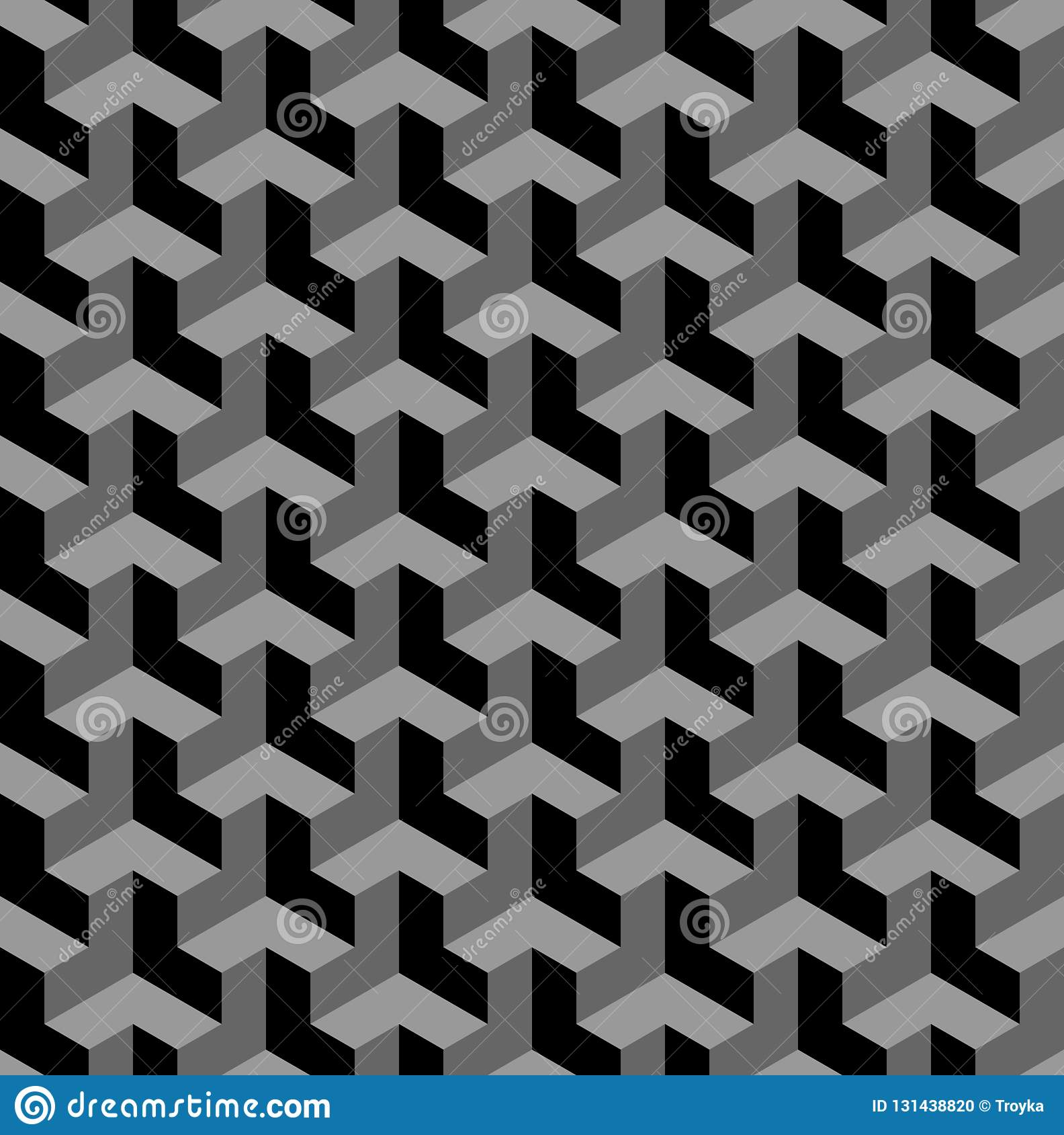 Modelo geométrico inconsútil 3d Ilusión óptica Fondo y textura geométricos negros y grises