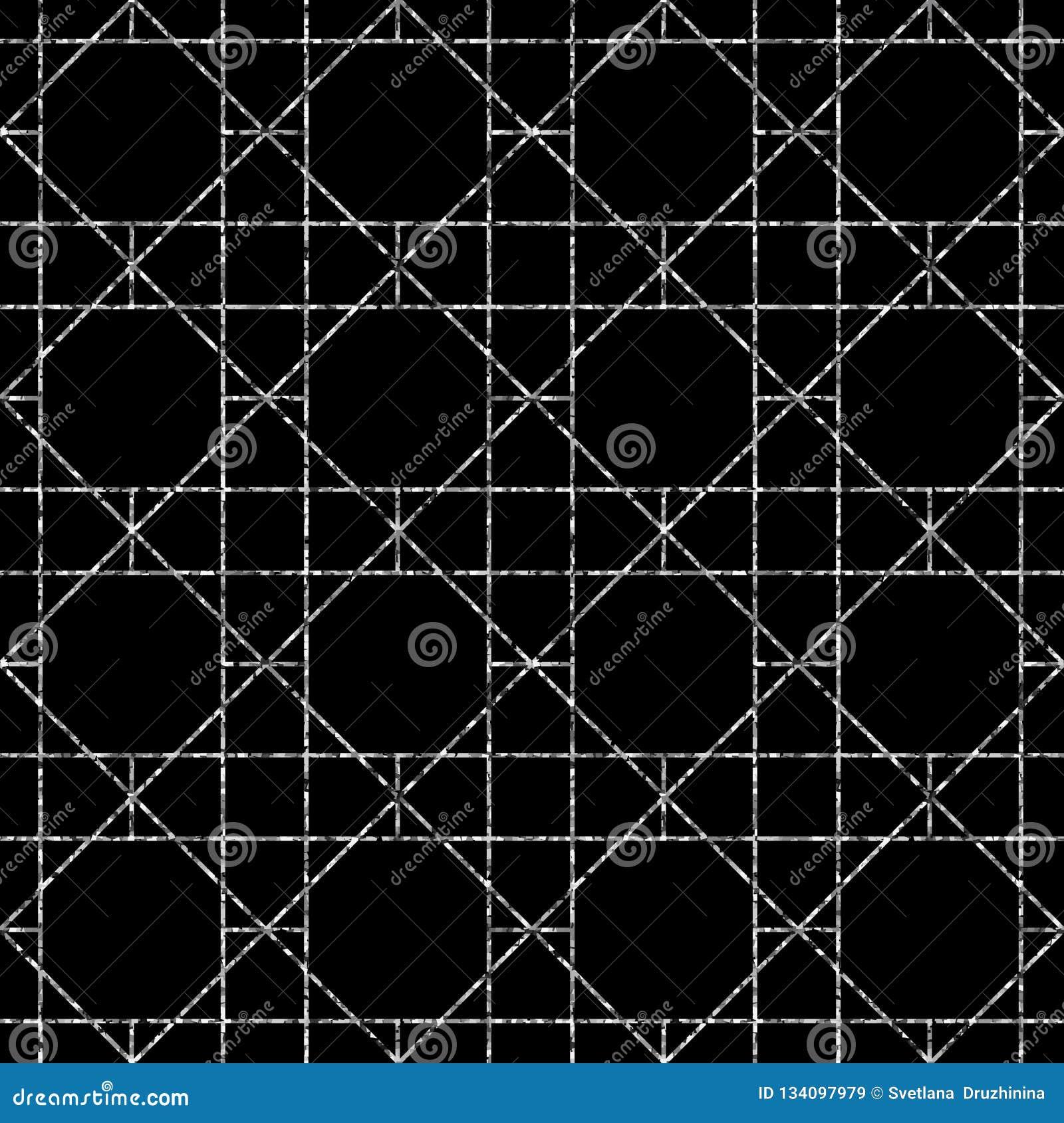 Modelo geométrico inconsútil Fondo del vector en color blanco y negro